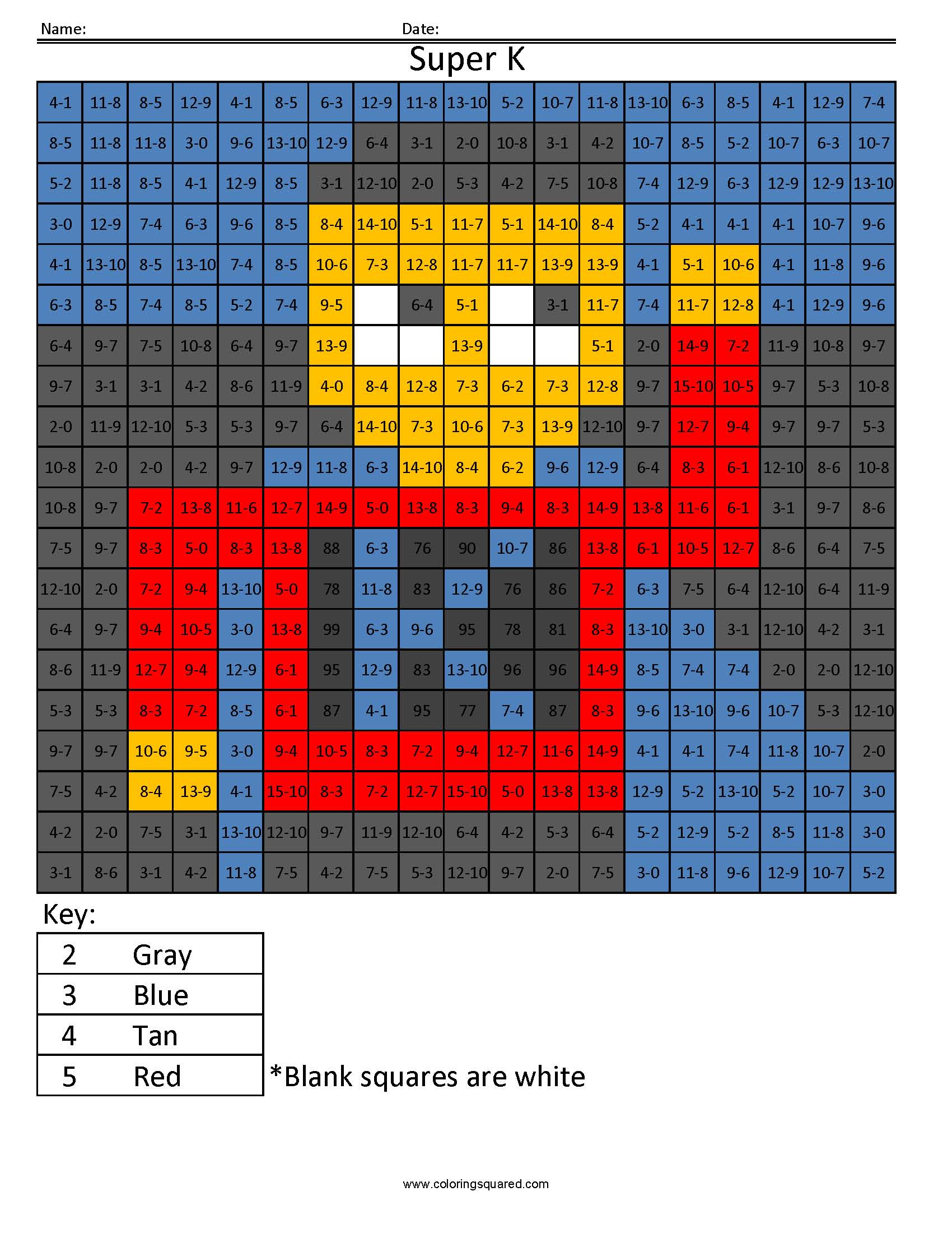 Math Coloring Page- Coloring Squared Subtraction Easy - Coloring Squared