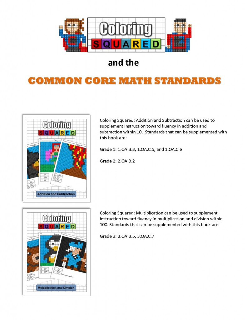 Common Core Standards and Coloring Squared