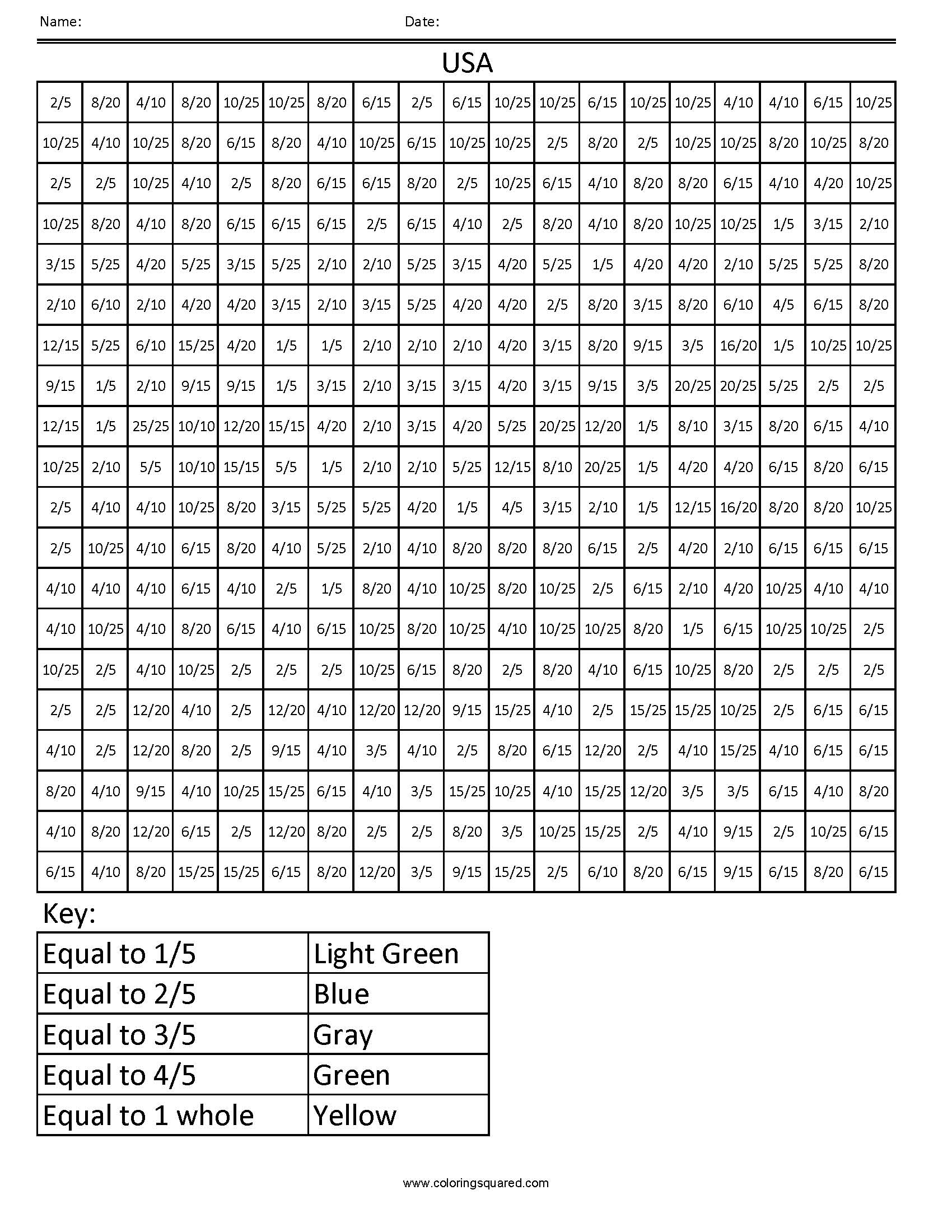 FFC3 USA common core coloring fractions decimal percent – Coloring Fractions Worksheets Free