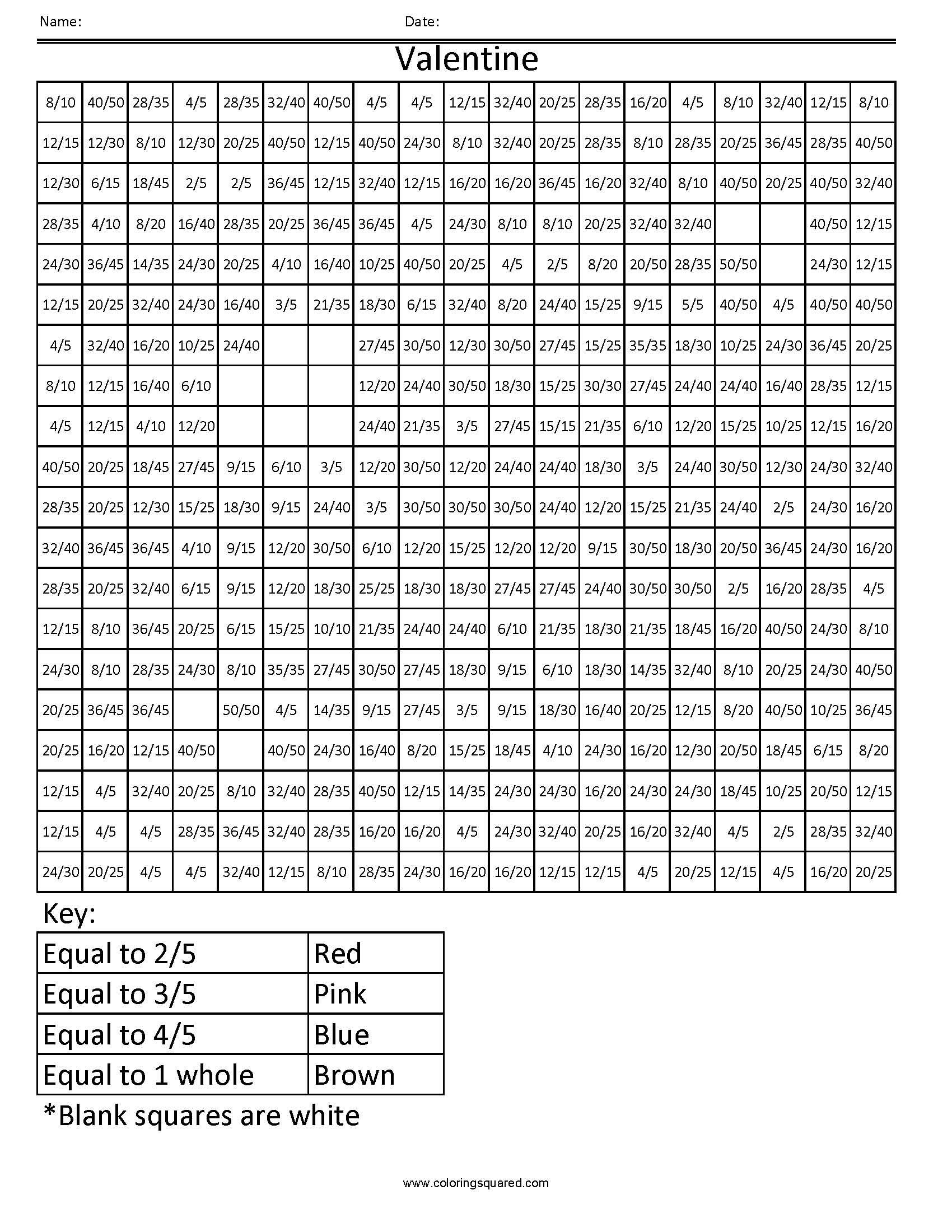 FFC8 Valentine common core coloring fractions decimal percent