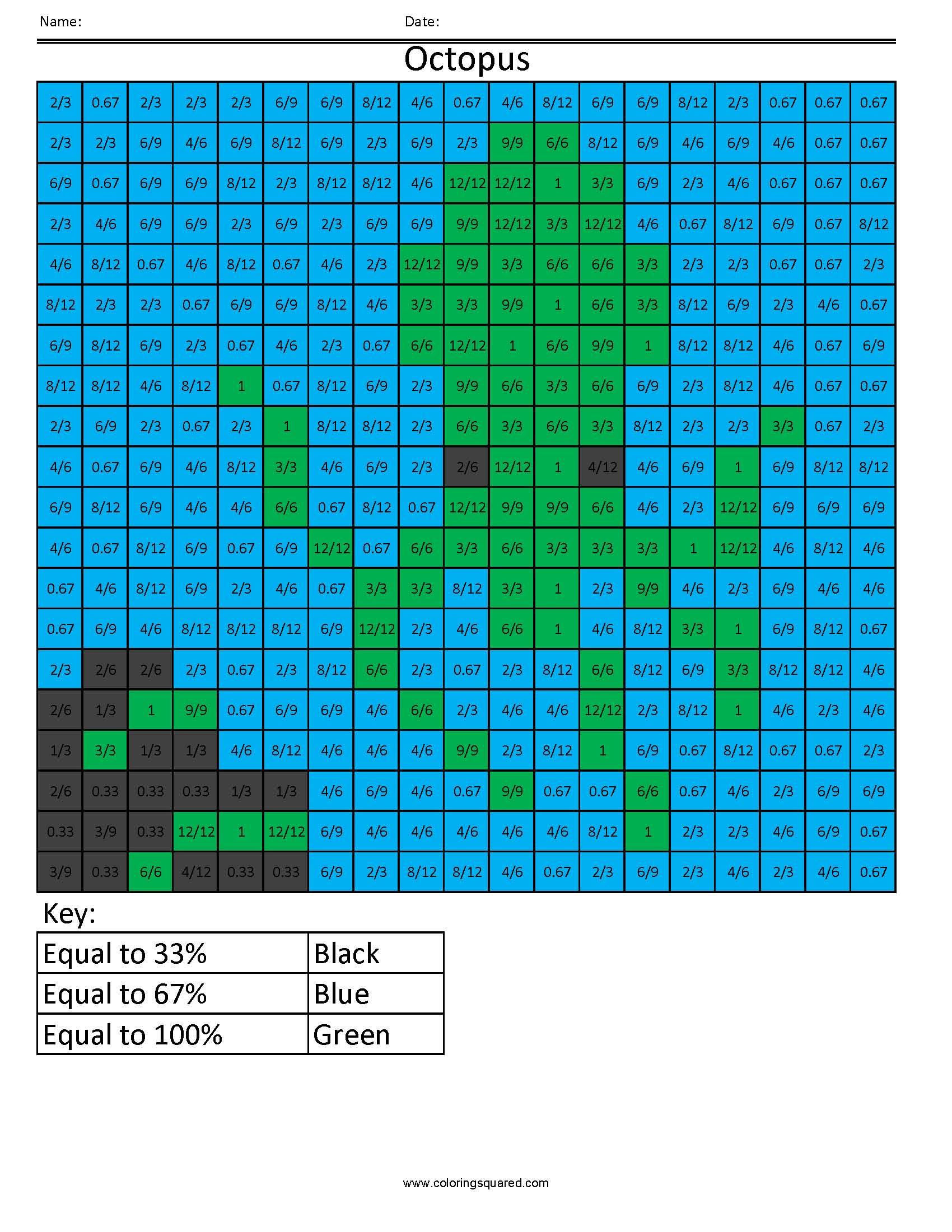 PP2 Octopus Color free fractions decimals percent worksheet ...