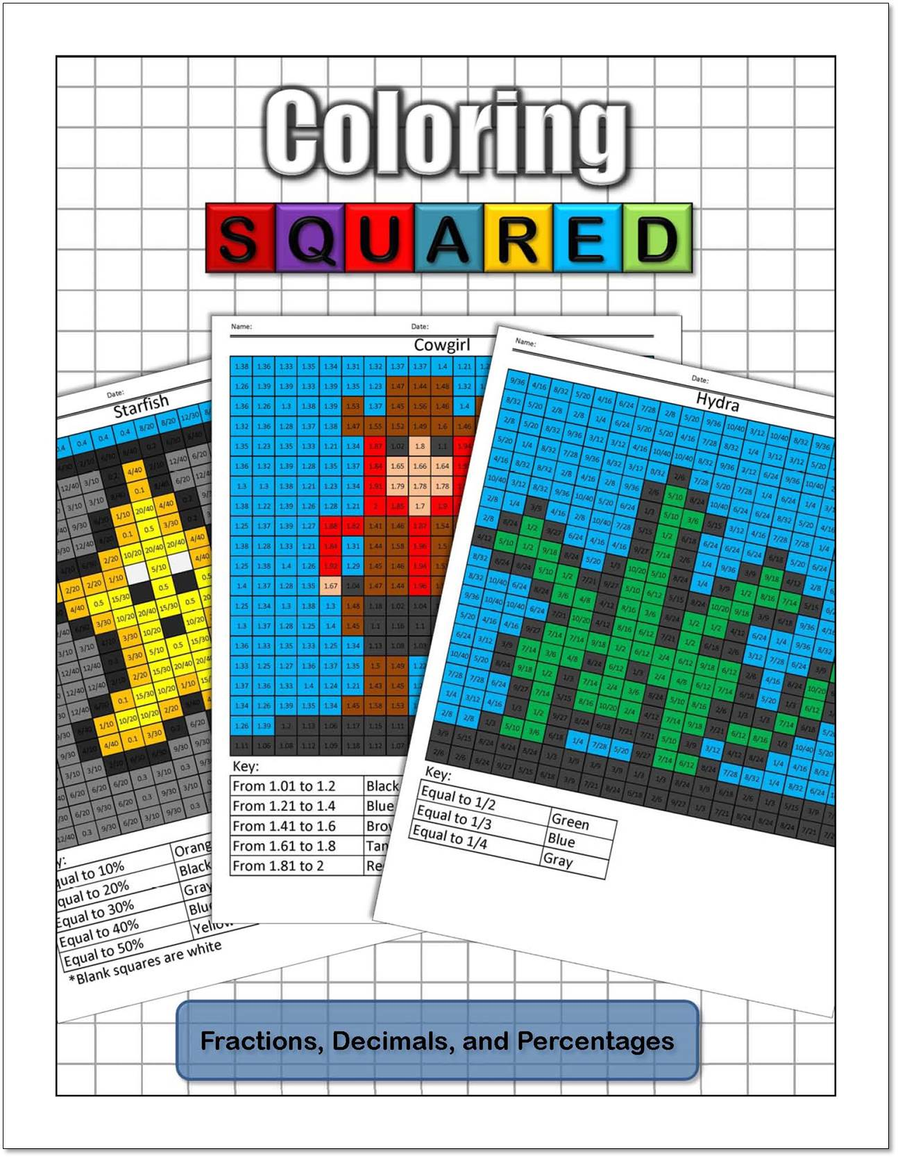 Fractions, Decimals, and Percentages - Coloring Squared