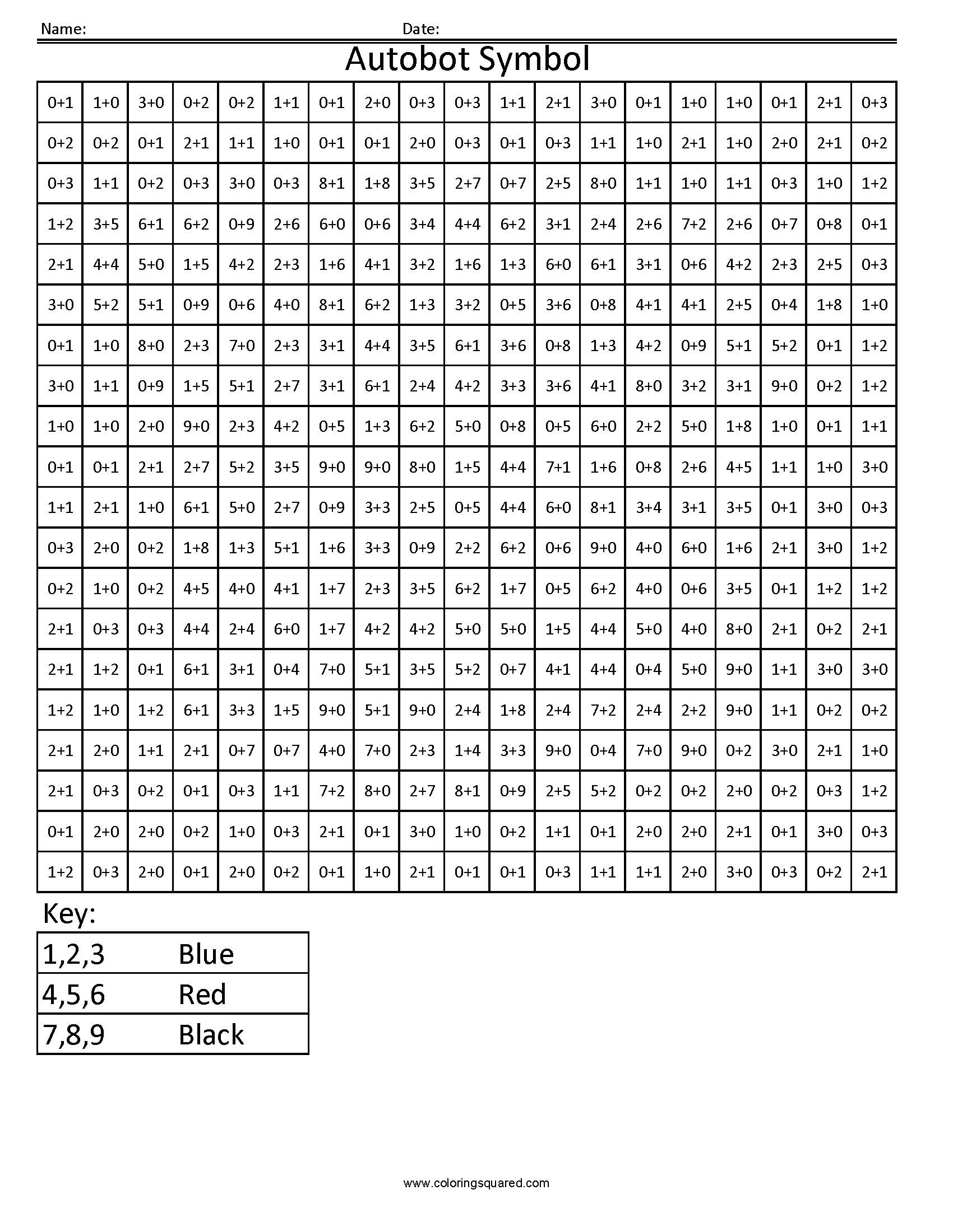 1 Autobot Symbol transformers addition and subtraction math – Color by Number Worksheets Addition