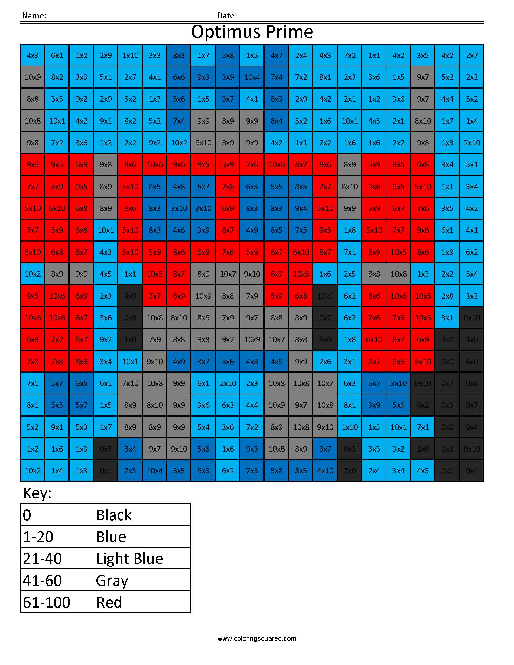 11 Optimus multiplication division math worksheets - Coloring Squared