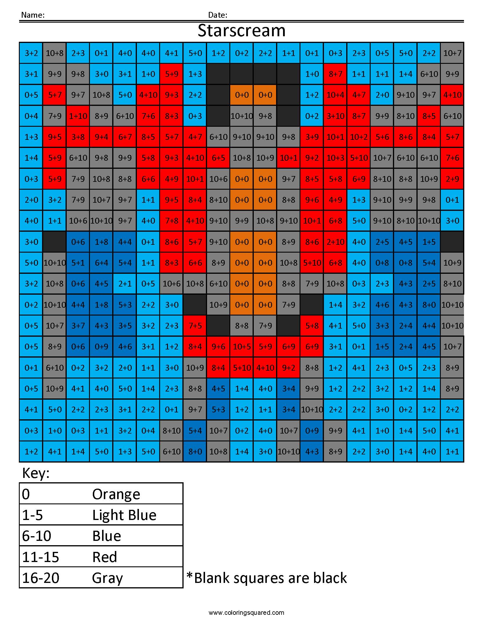 15 Starscream transformers addition and subtractions math worksheets ...