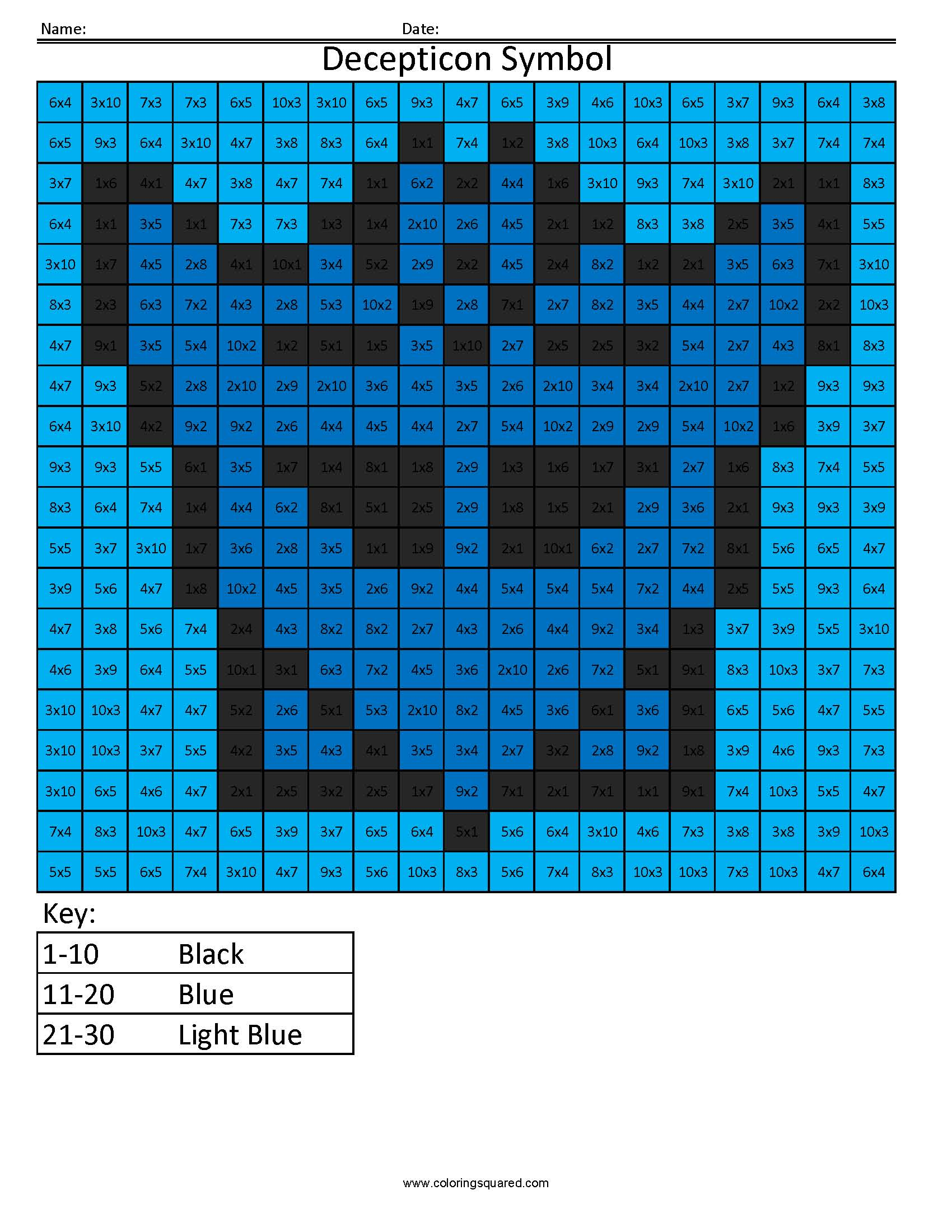 2 Decepticon Symbol Multiplication Division Math Worksheets