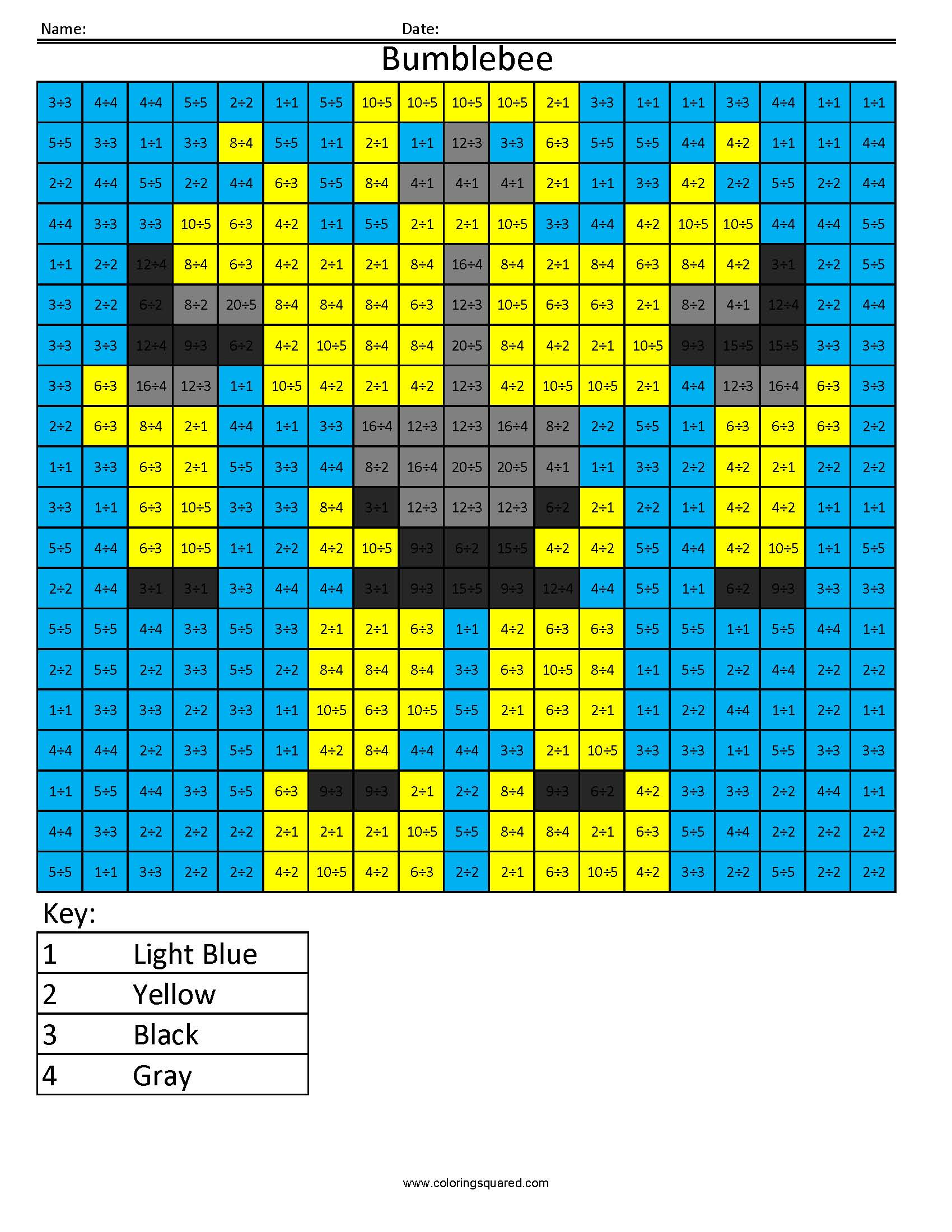 6 Bumblebee multiplication division math worksheets - Coloring Squared