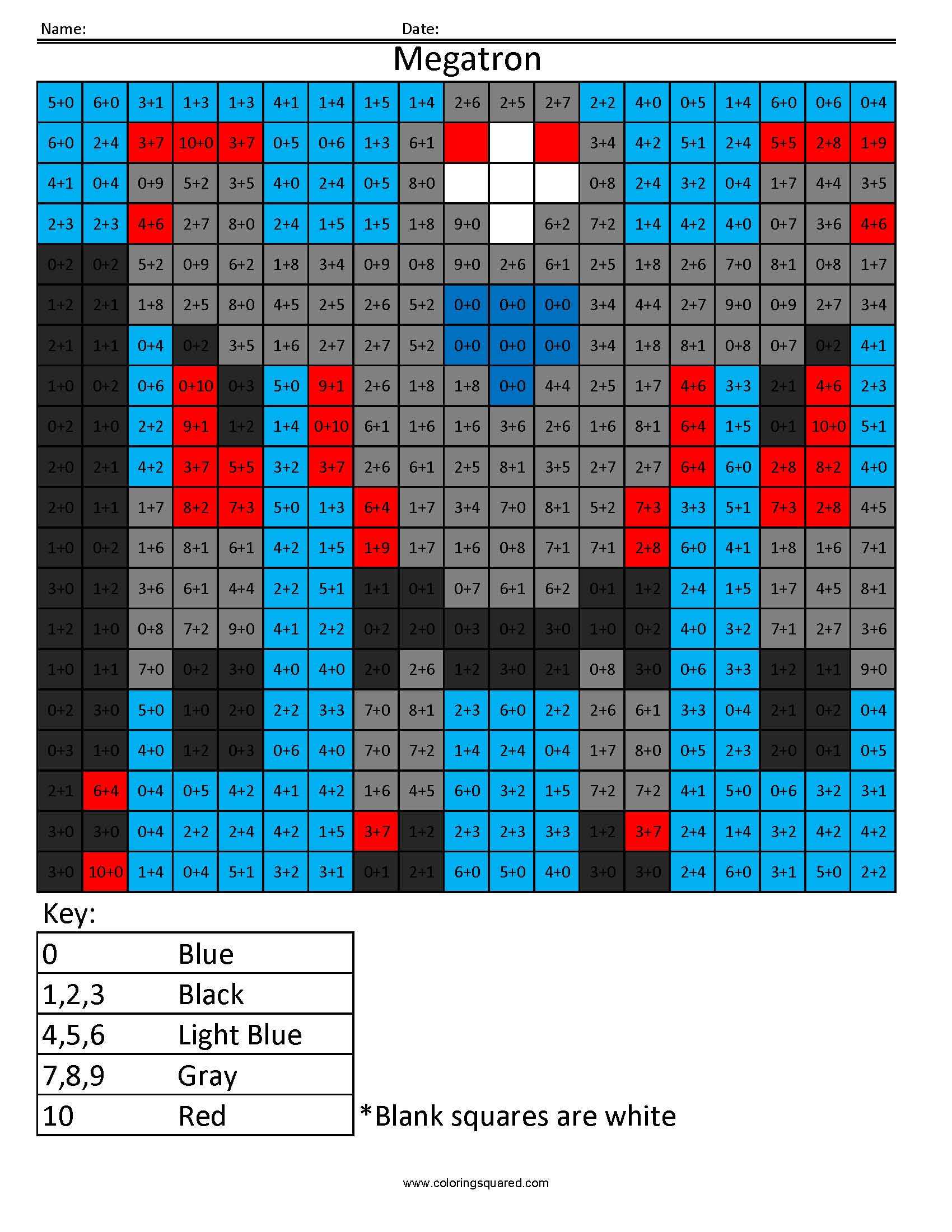 9 Megatron transformers addition and subtractions math worksheets ...