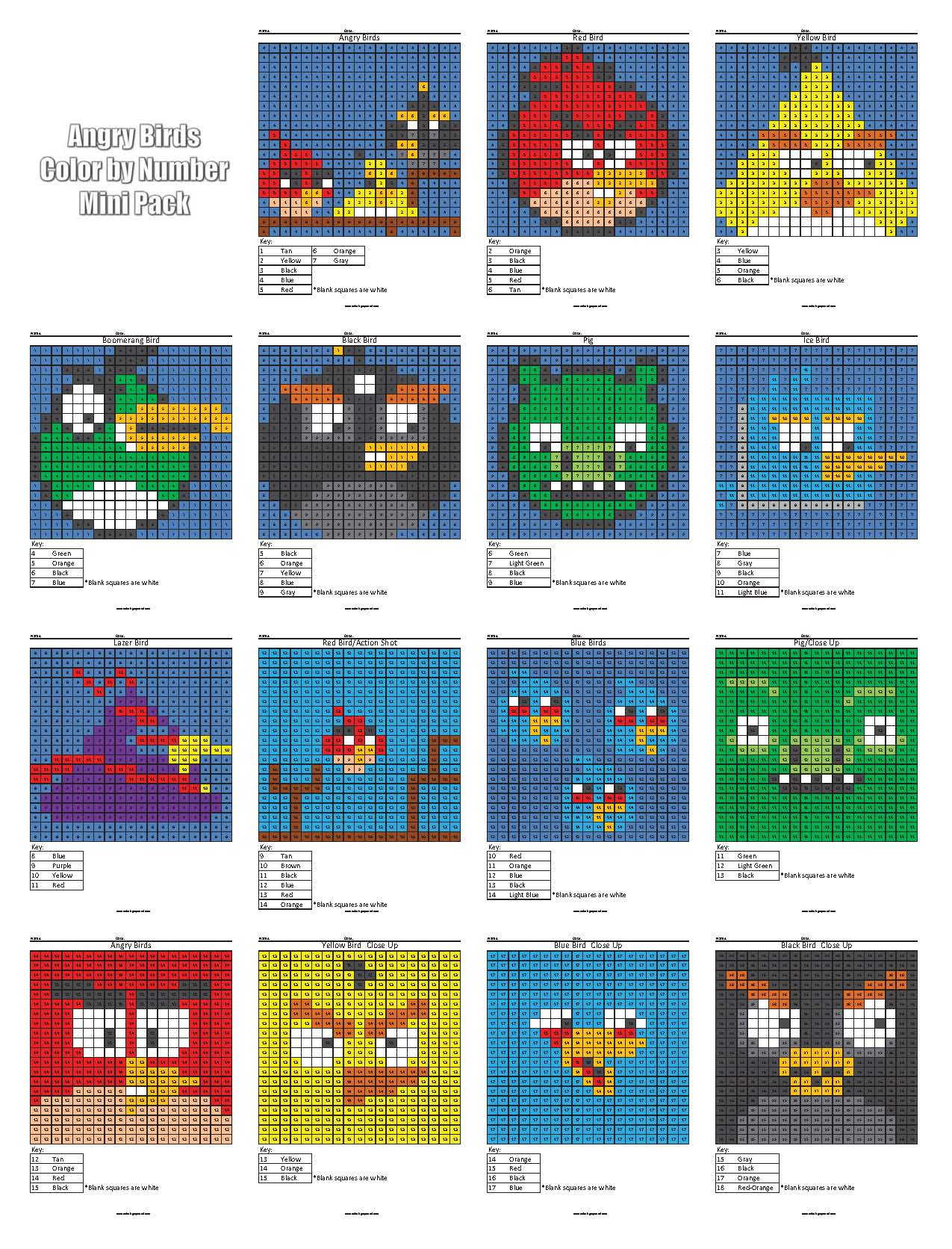Angry Birds Color by Number Coloring