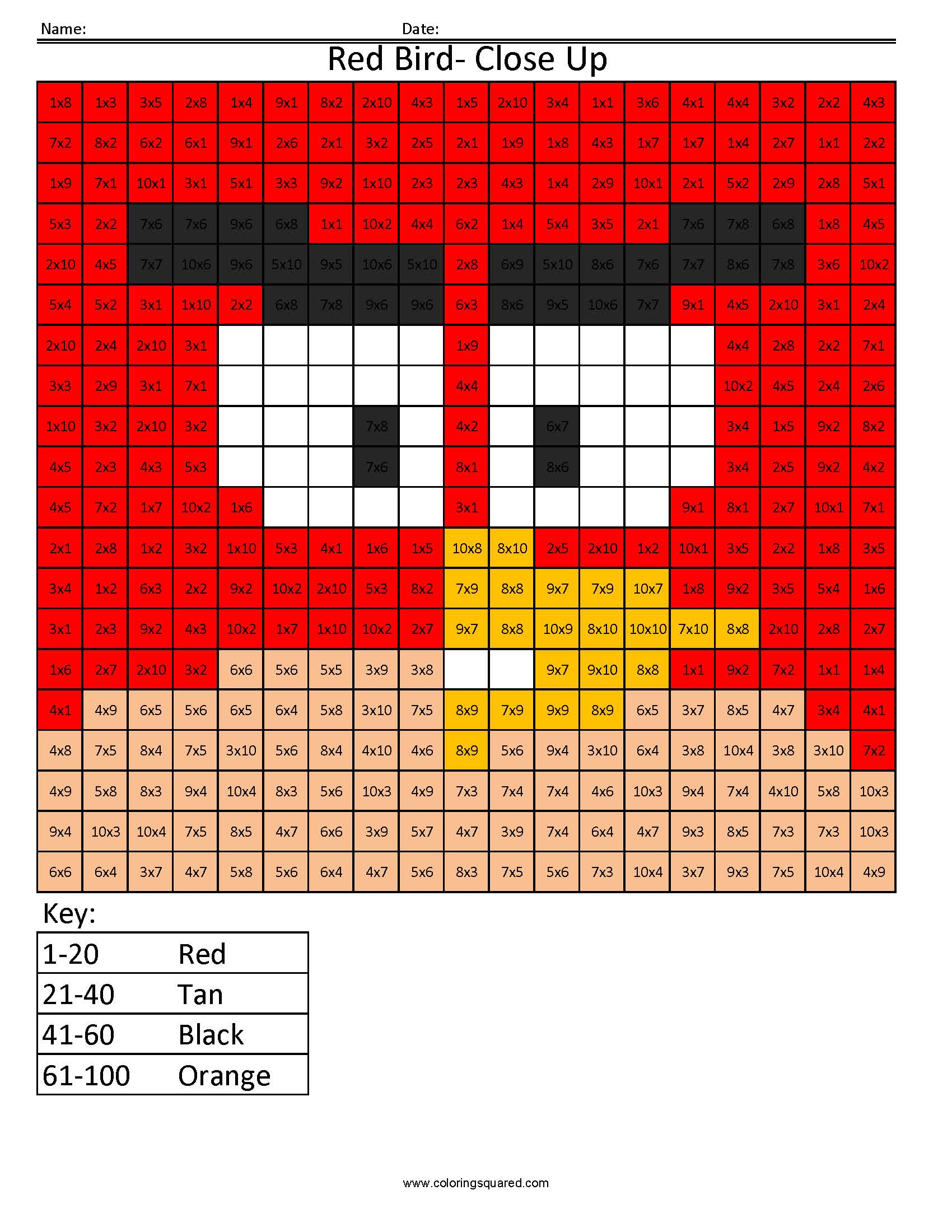 Md12 red bird closeup multiplication division times table practice image information gamestrikefo Images