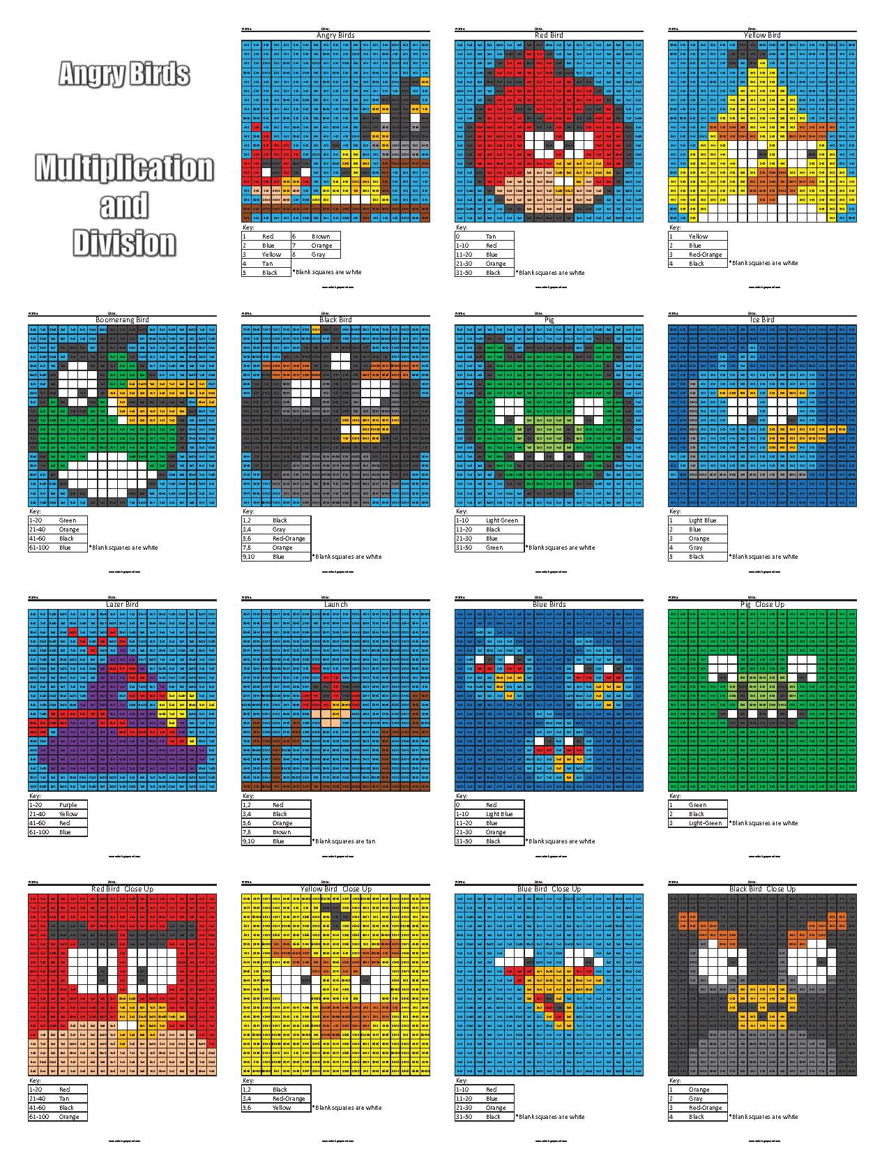 Starter Pack Cover Angry Birds Mul Div 16 Page - Coloring Squared