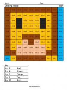 DJ8 Lion division math coloring pages