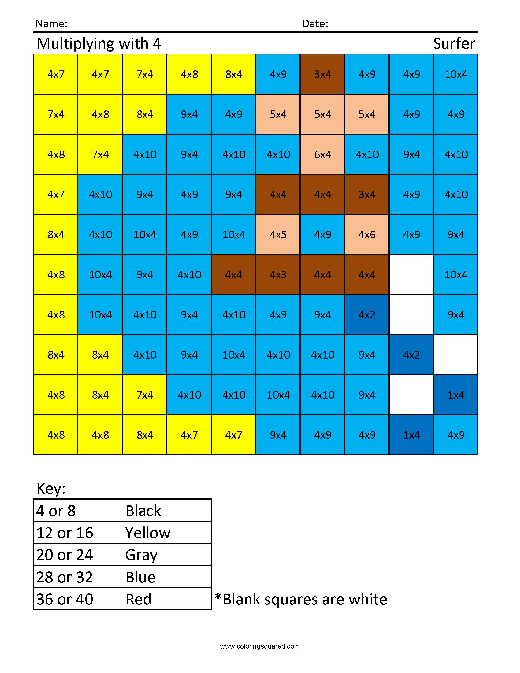 JM4 Surfer free multiplication times table practice - Coloring Squared