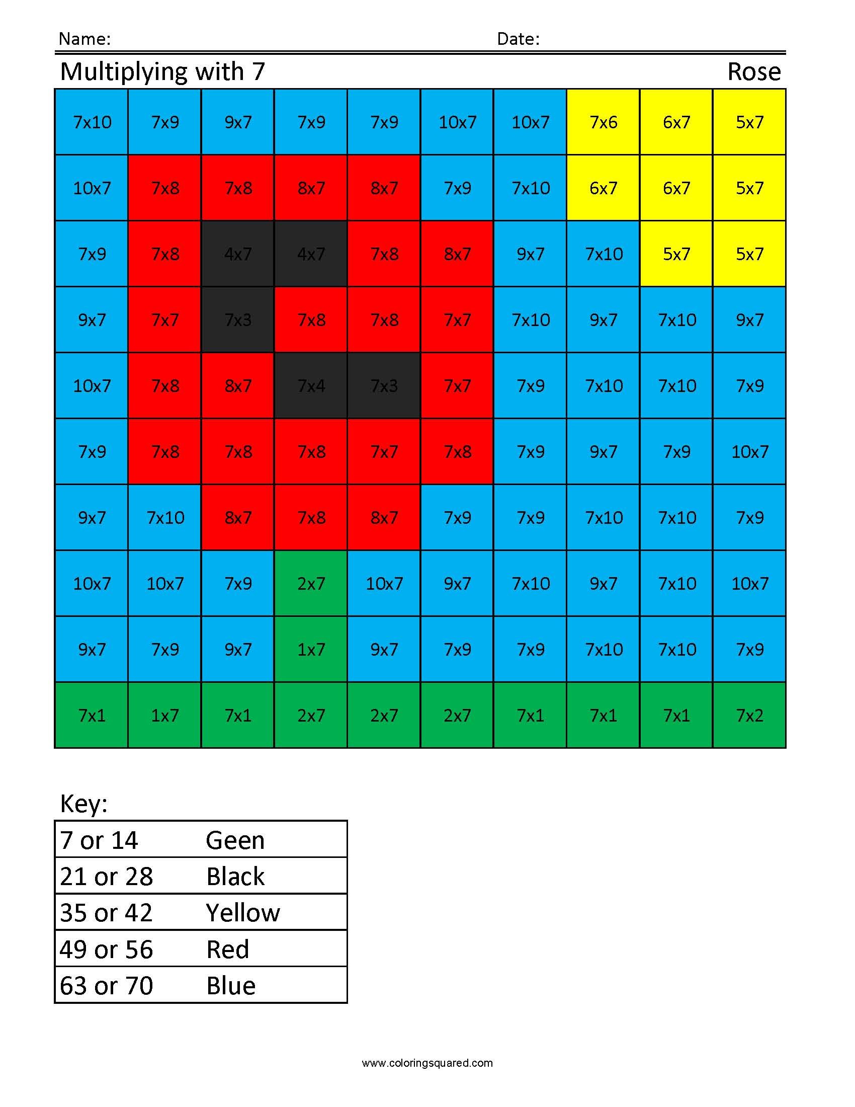 JM7 Rose free multiplication times table practice - Coloring Squared