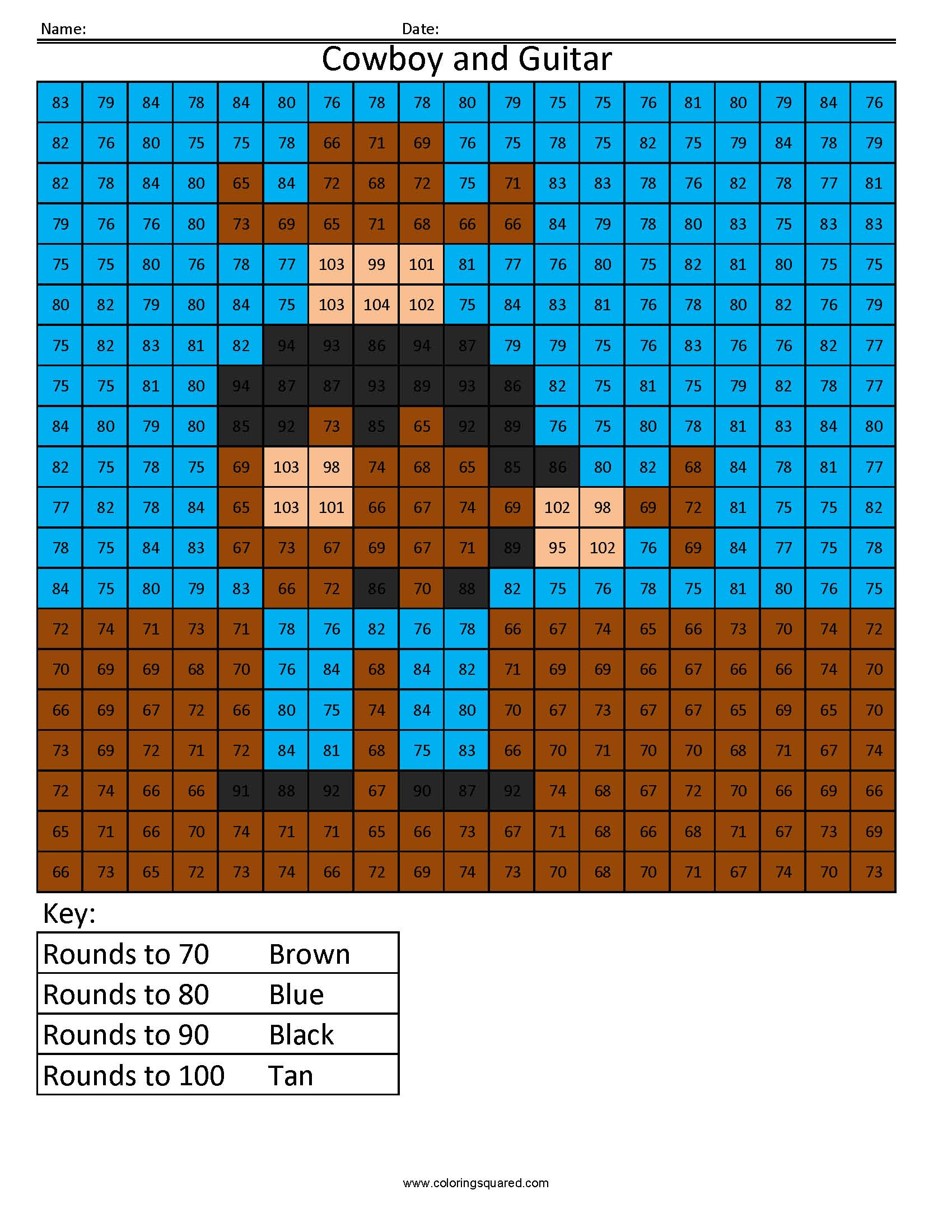 RE5 Cowboy and Guitar free rounding math worksheets for kids ...