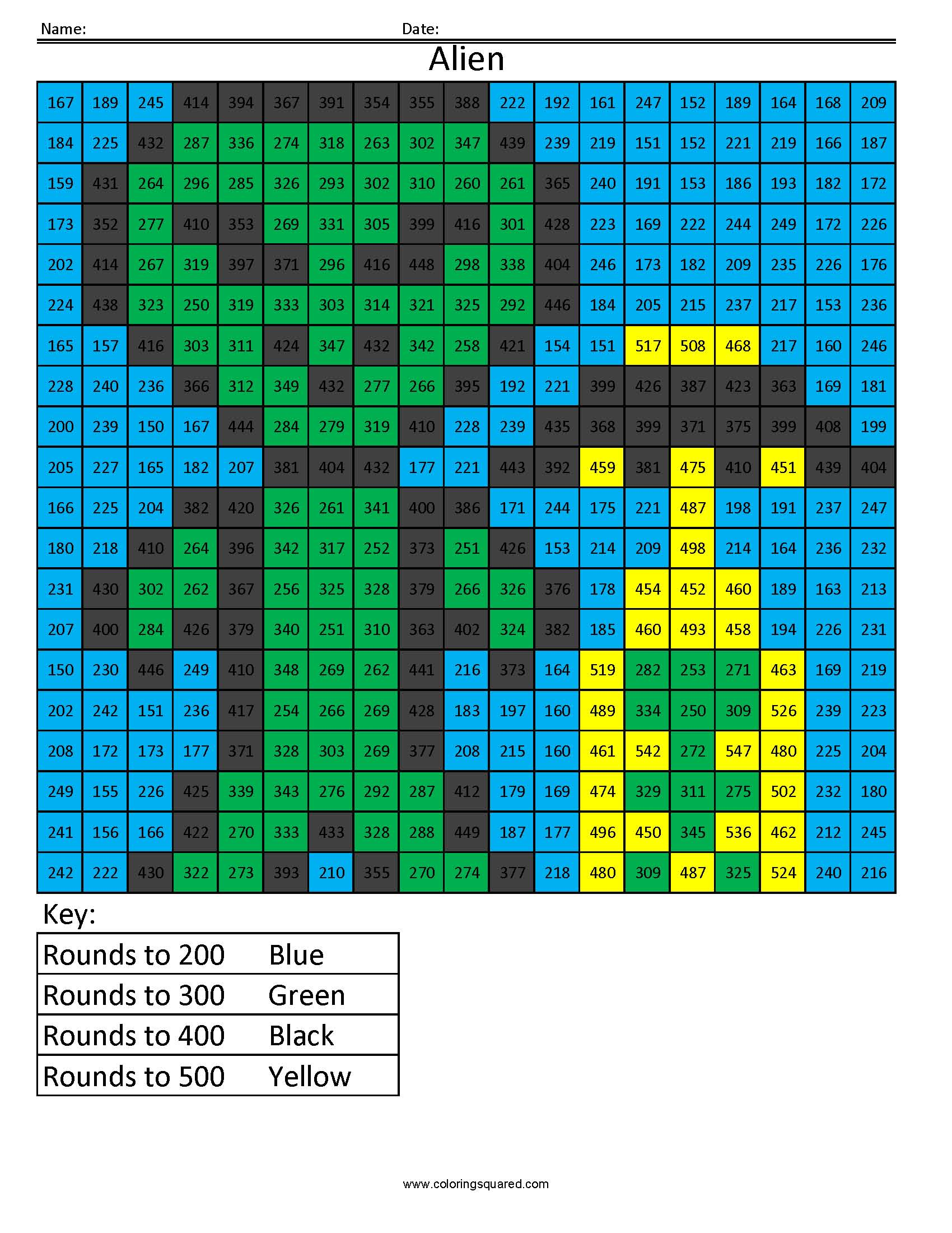 RH2 Alien free rounding math worksheets for kids - Coloring Squared