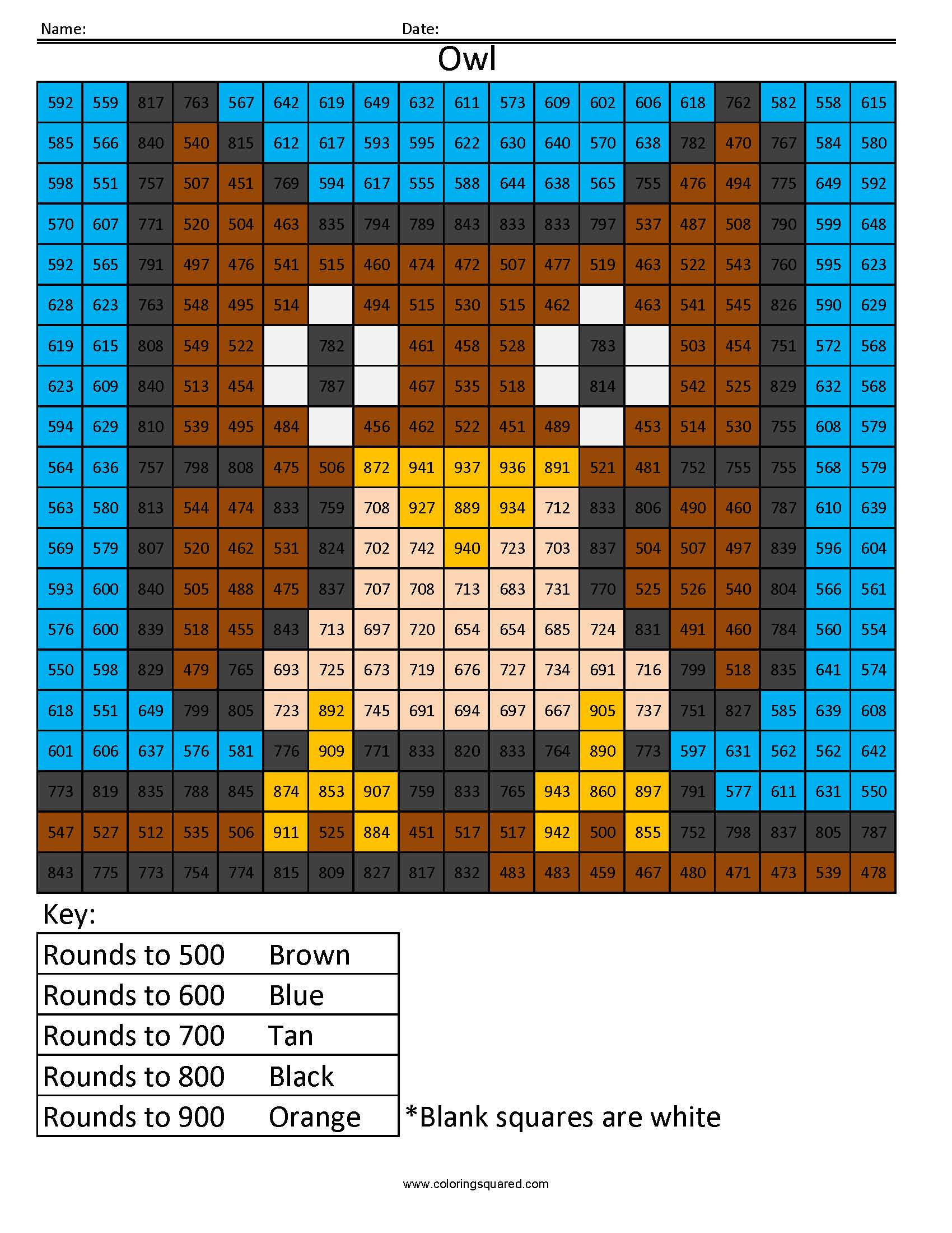 RH5 Owl Color free rounding math worksheets for kids - Coloring ...