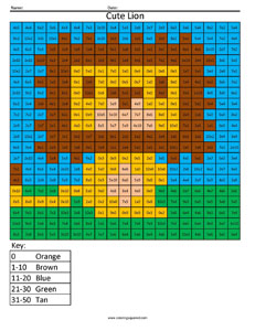 Cute Lion- Basic Multiplication – Coloring Squared
