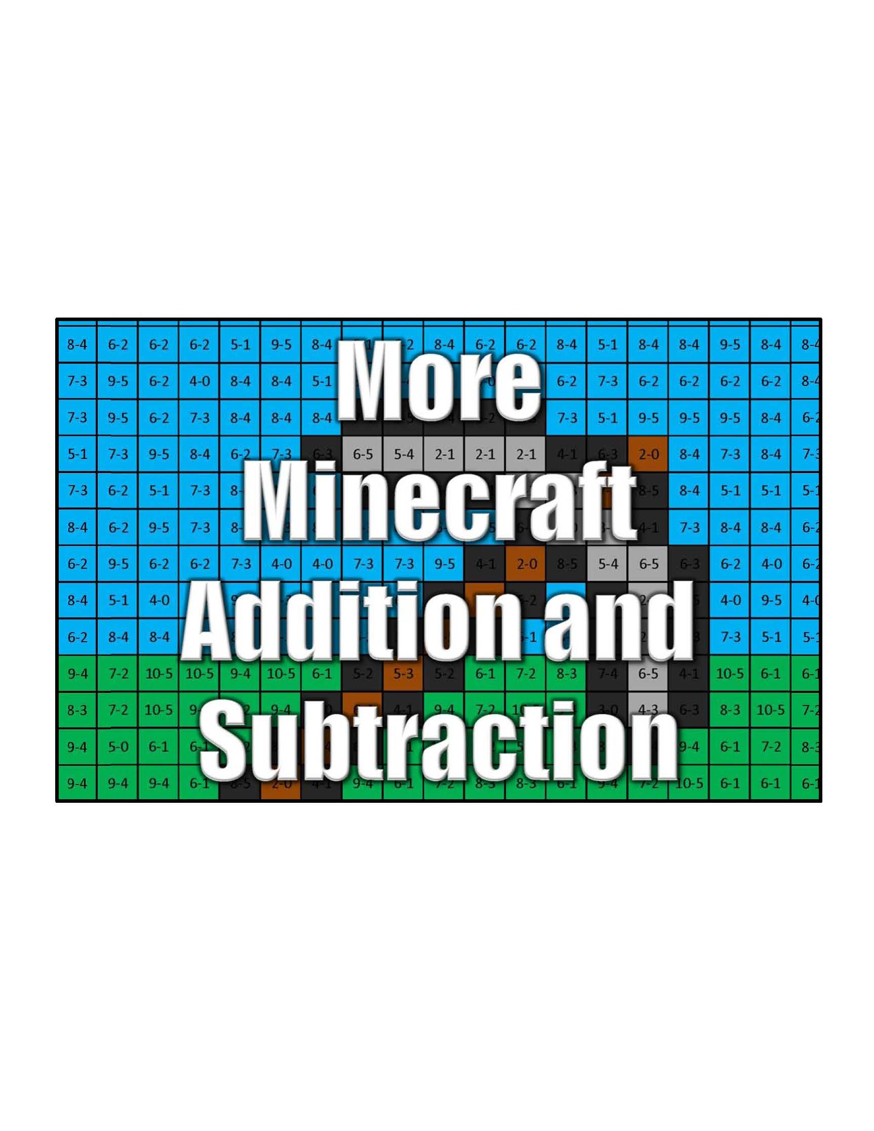 Get More Minecraft Addition and Subtraction - Coloring Squared