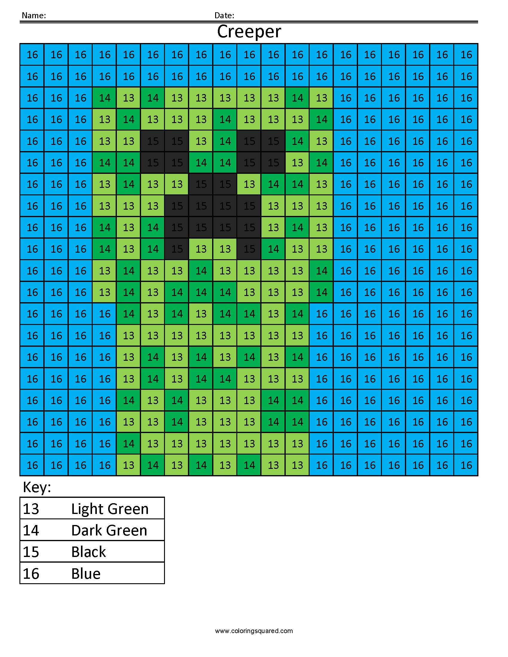 MC13 Minecraft Creeper math coloring