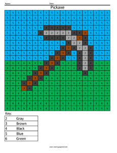 Minecraft Pickaxe- Color by Number - Coloring Squared