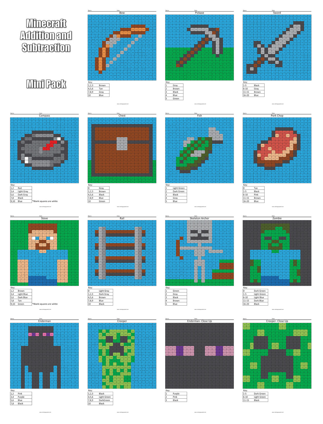 Minecraft Addition and Subtraction - Coloring Squared