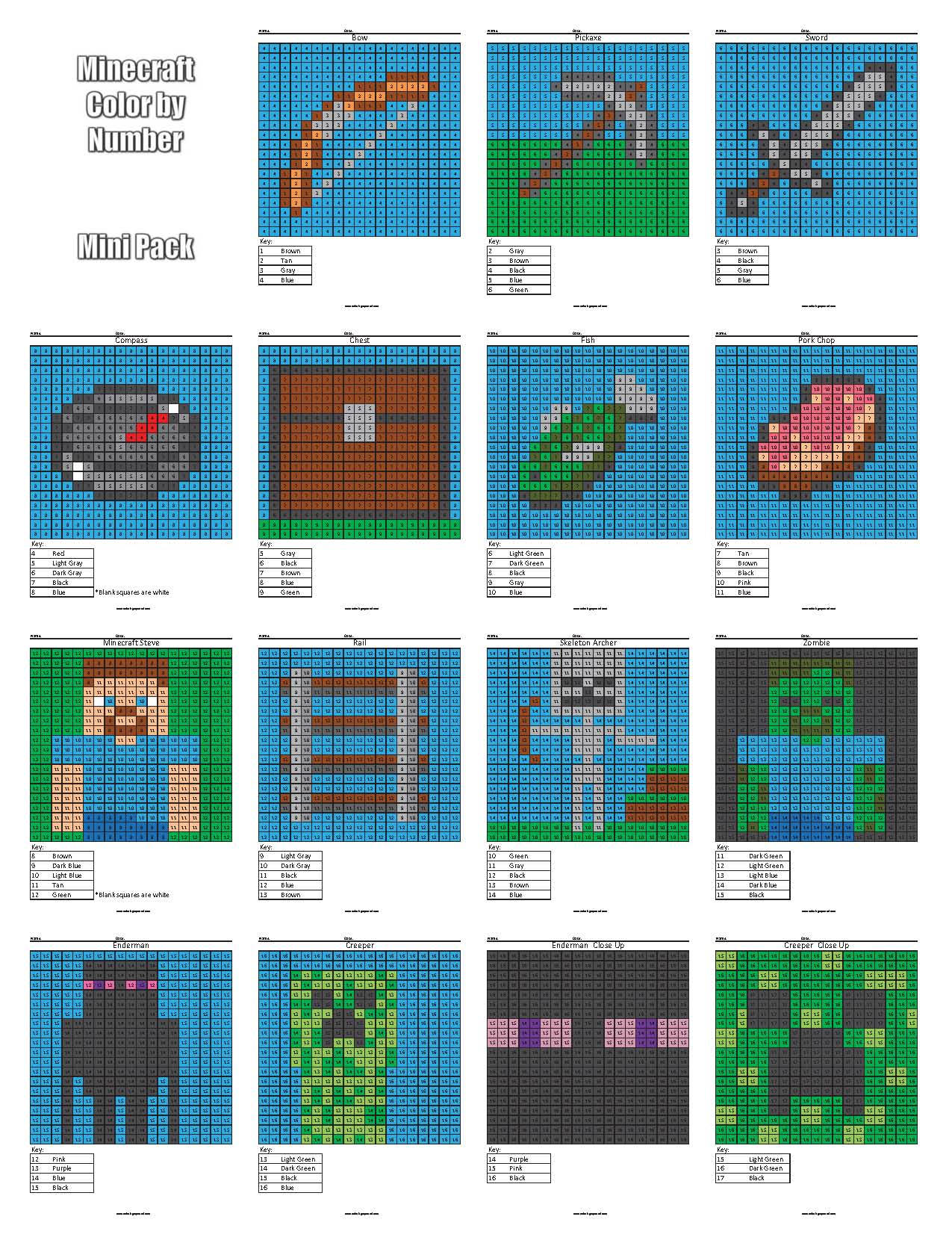 Minecraft Color by Number cover 16 - Coloring Squared