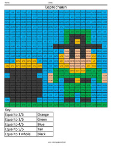 Leprechaun fractions denominator math coloring