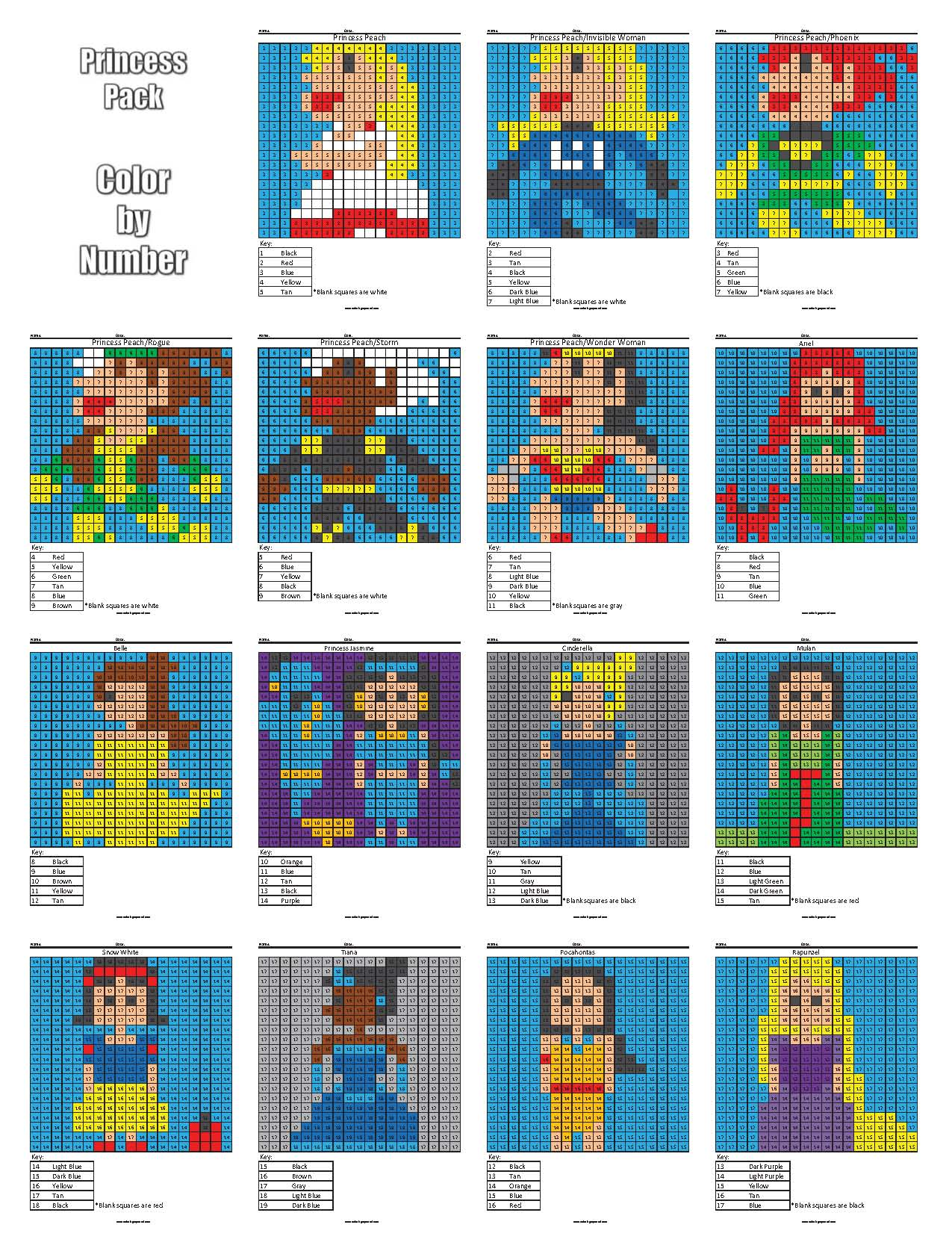 Disney Princess Color by Number Coloring Squared