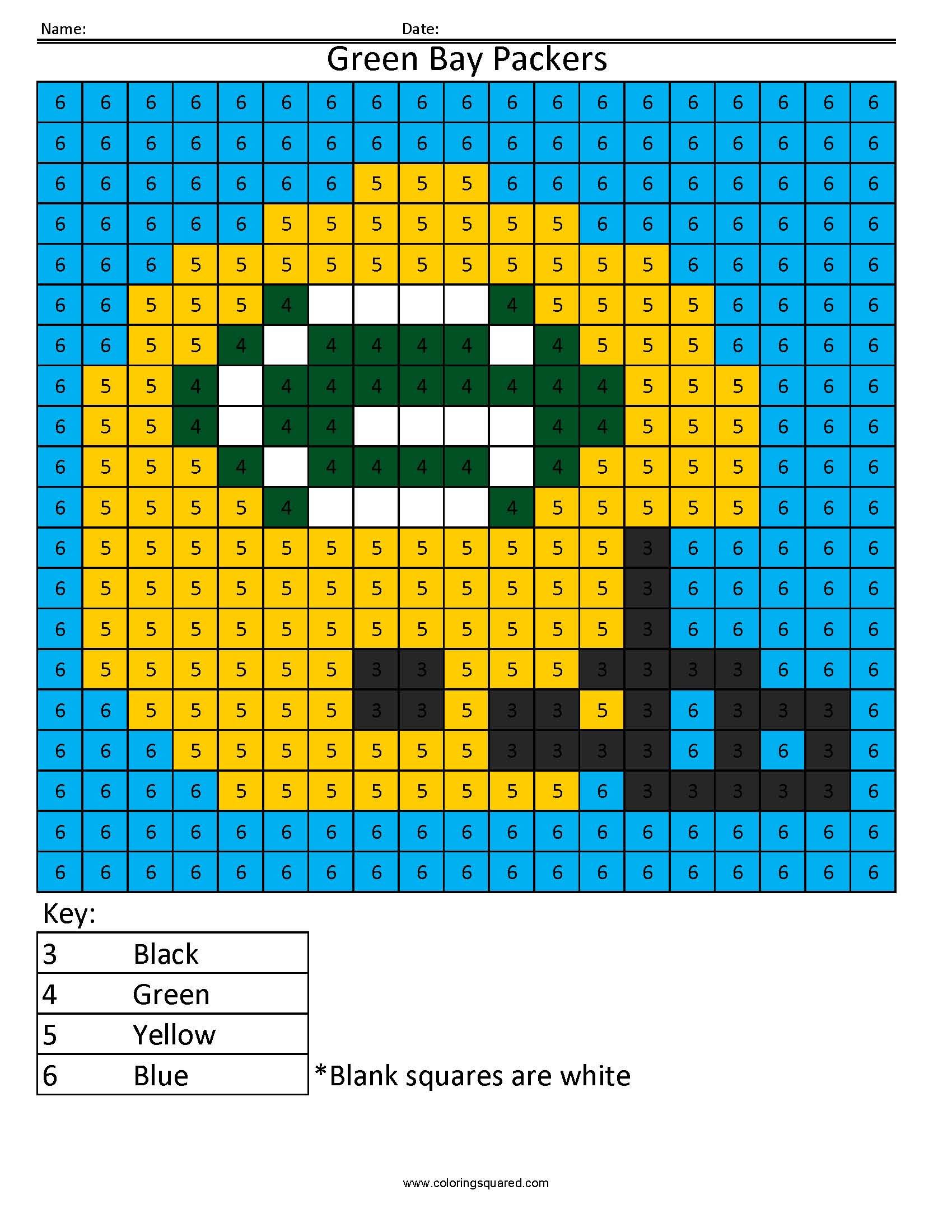 3cn Green Bay Packers Nfl Nfc Color By Number Worksheets Nfl Color Number