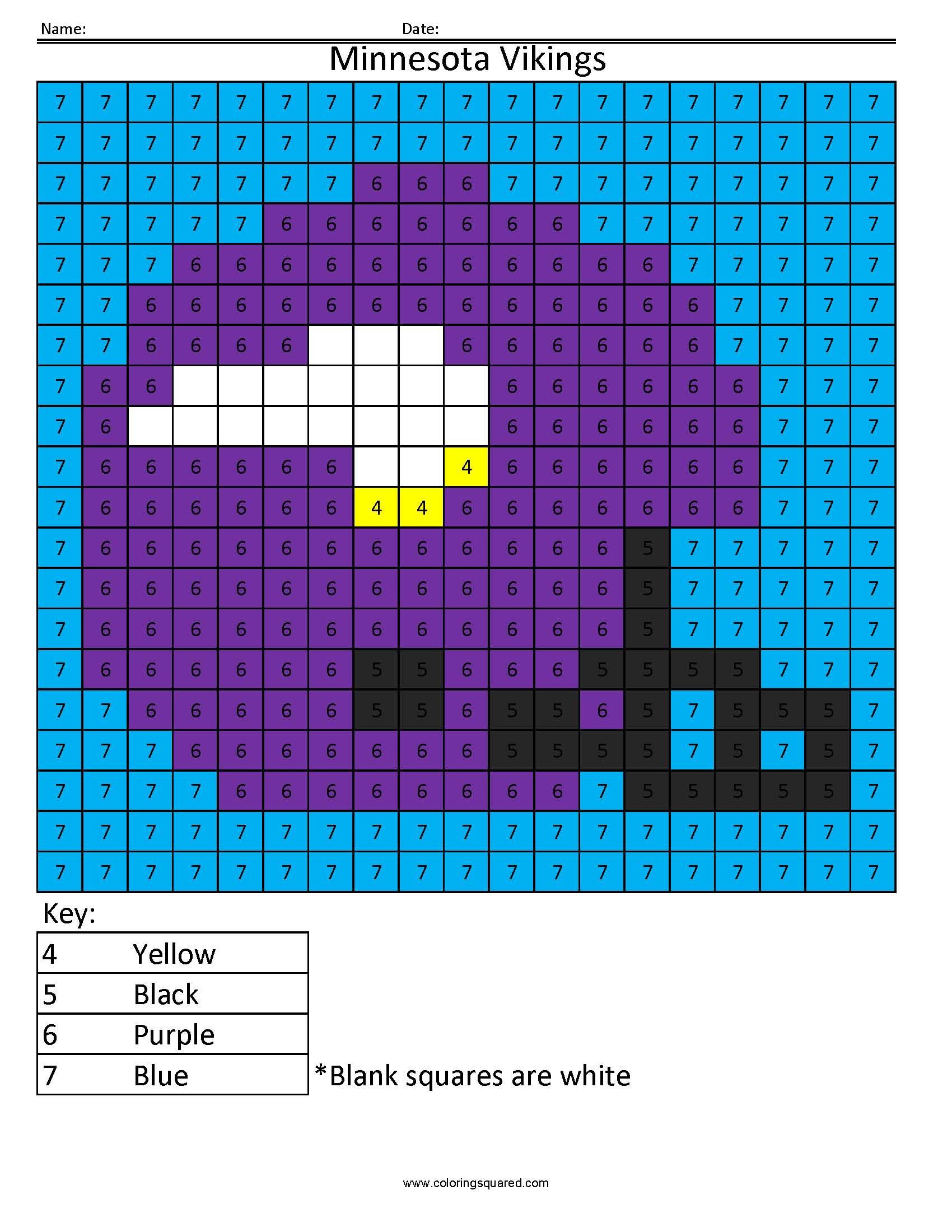 4cn Minnesota Vikings Nfl Nfc Color By Number Worksheets Nfl Color Number