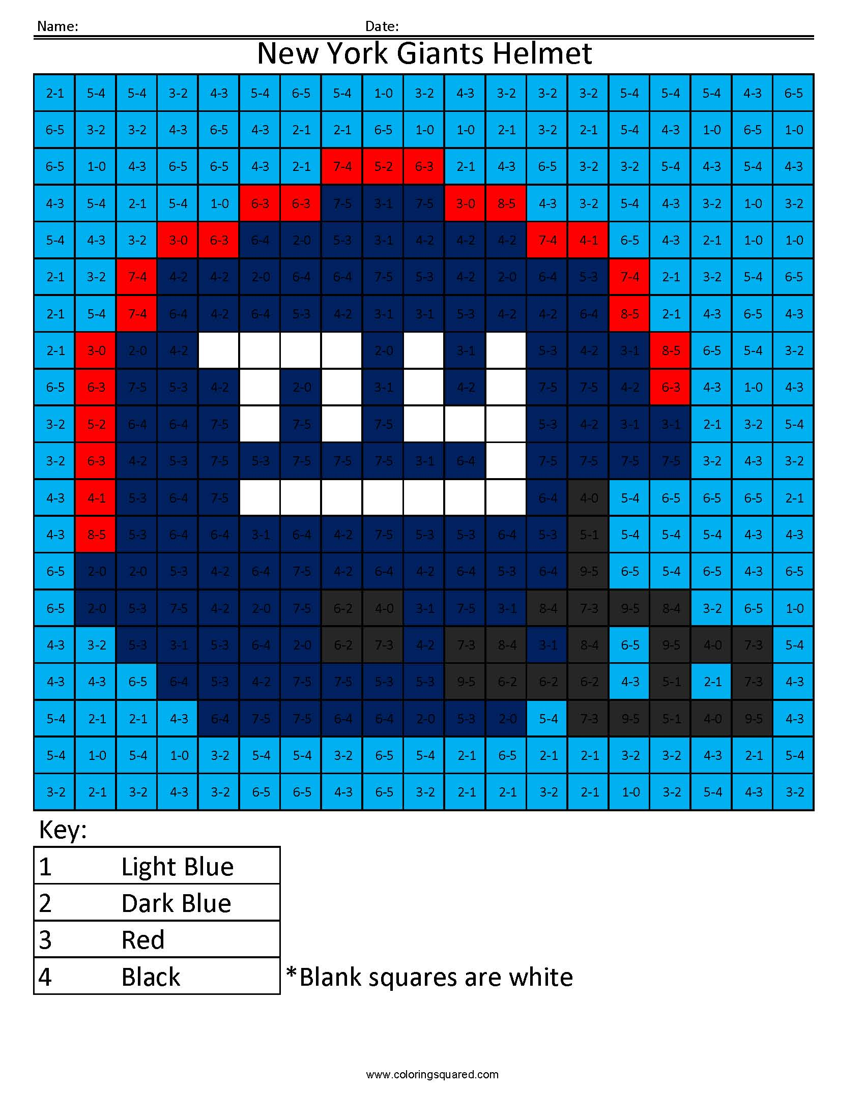 7AS New York Giants Helmet NFL NFC Math Coloring Pages