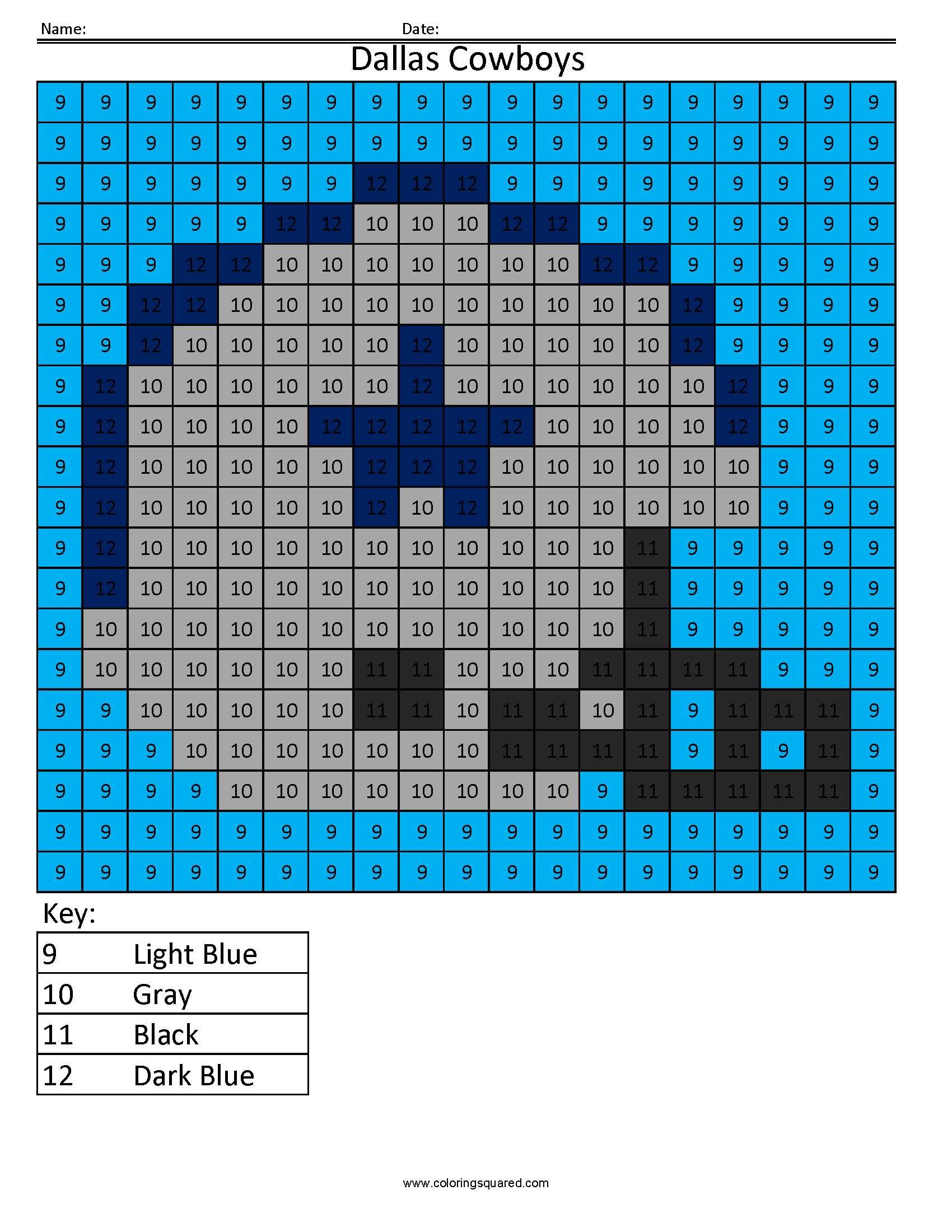 9cn Dallas Cowboys Nfl Nfc Color By Number Worksheets