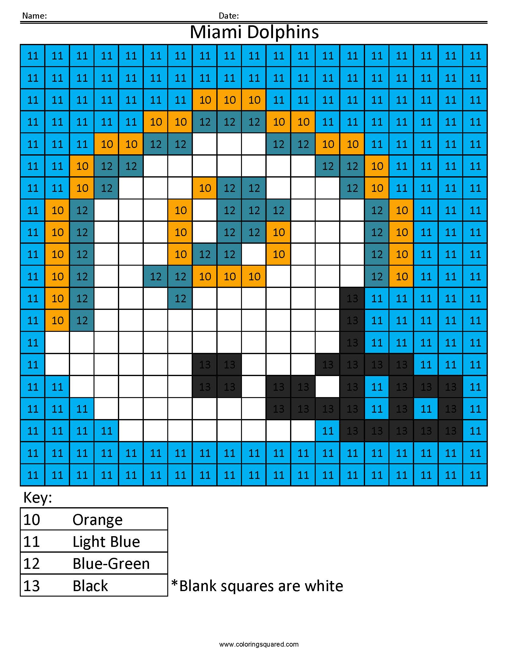 10CN Miami Dolphins NFL AFC color by number - Coloring Squared
