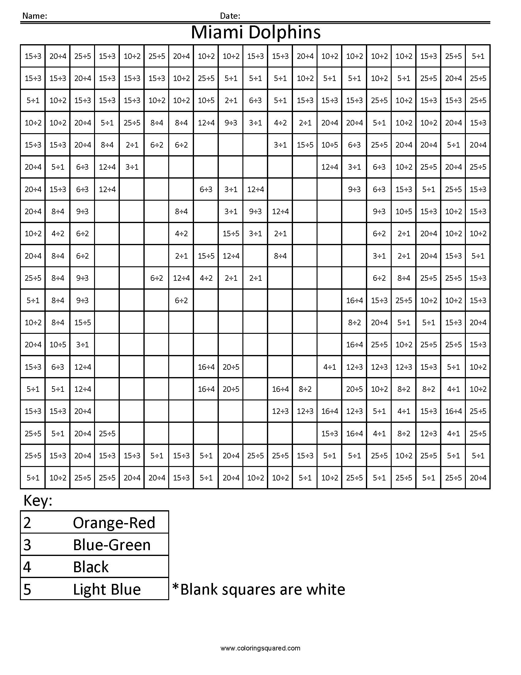10md miami dolphins nfl afc football math coloring coloring squared