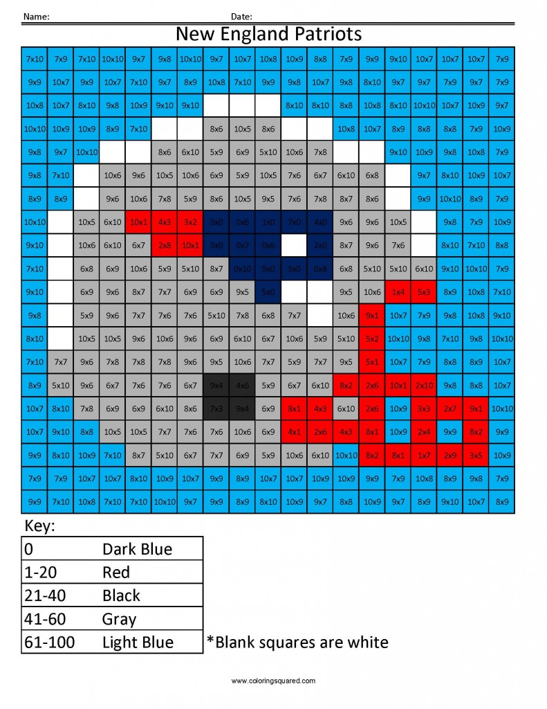 New England Patriots Advanced Multiplication Coloring