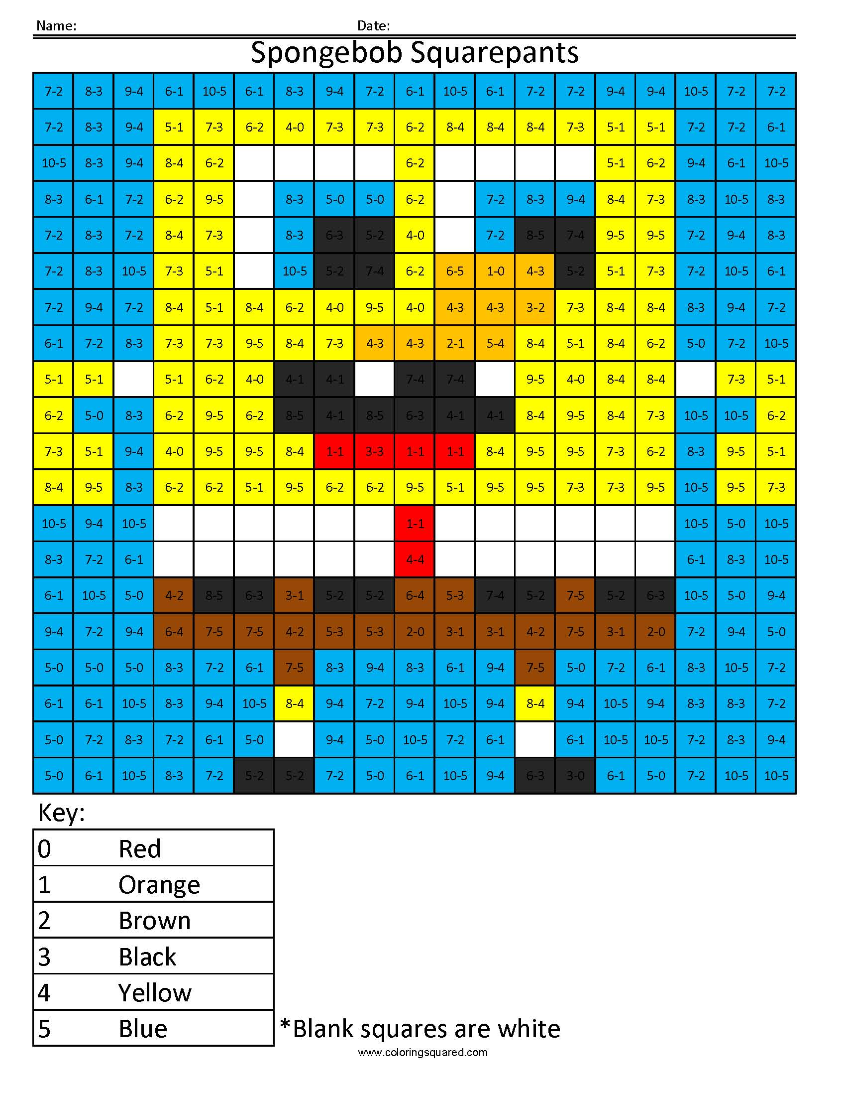 spongebob squarepants basic subtraction coloring squared