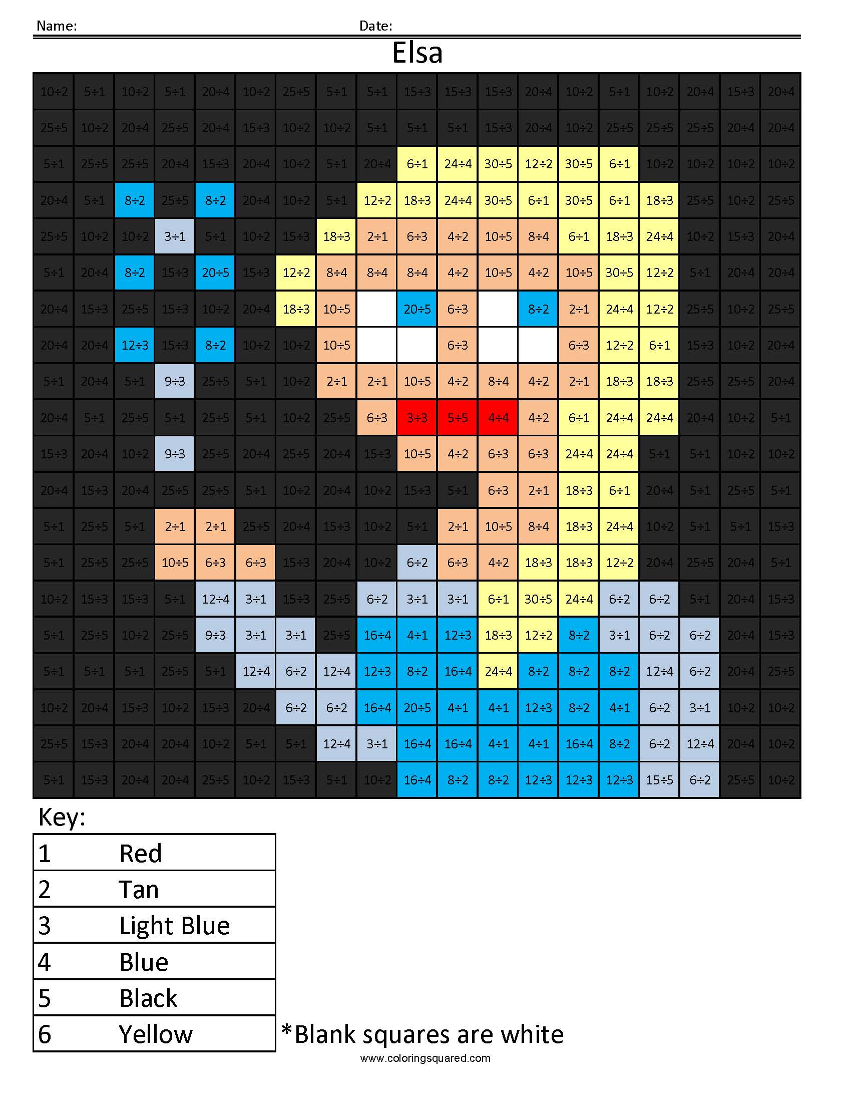 Disney Princess Multiplication and Division – Coloring Squared