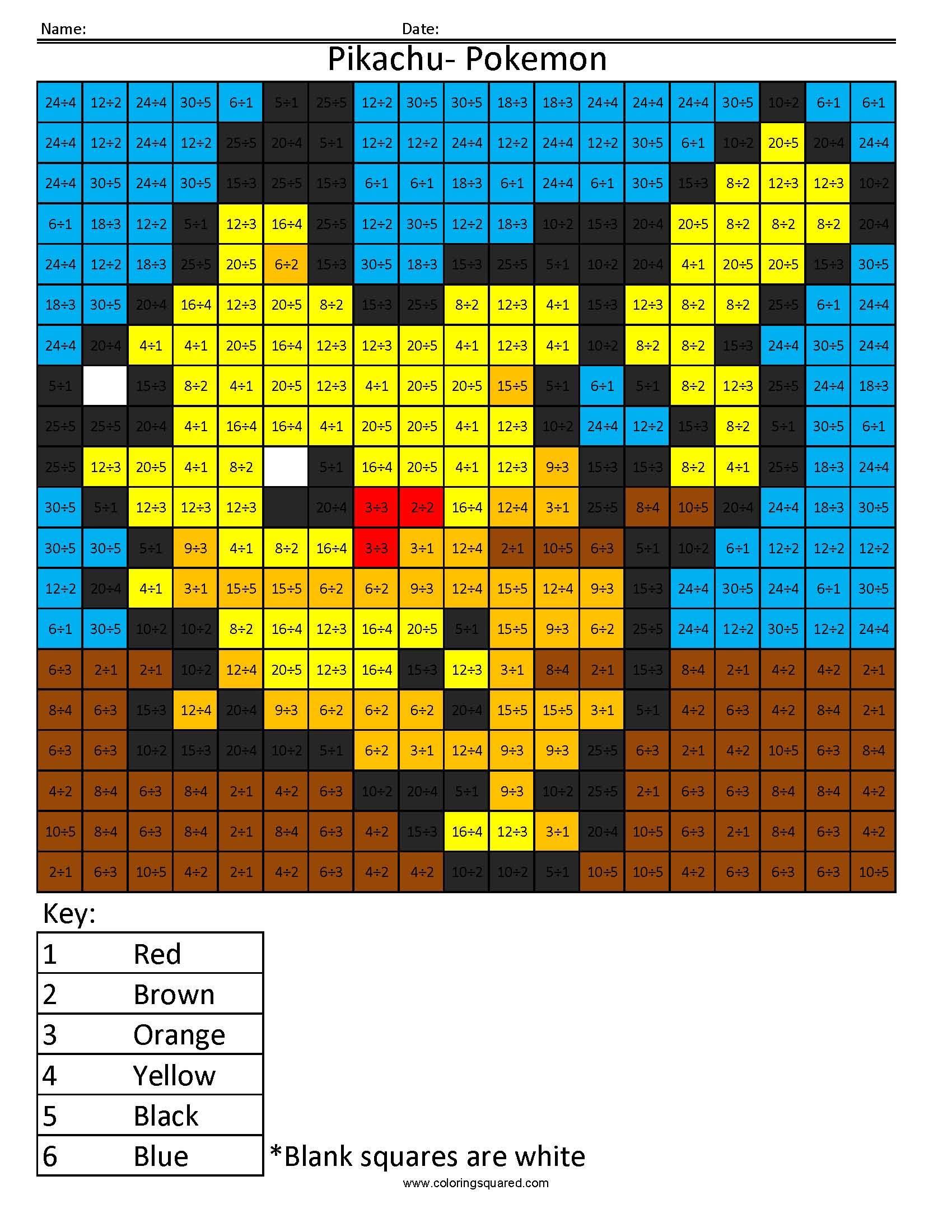 pikachu basic division coloring squared. Black Bedroom Furniture Sets. Home Design Ideas