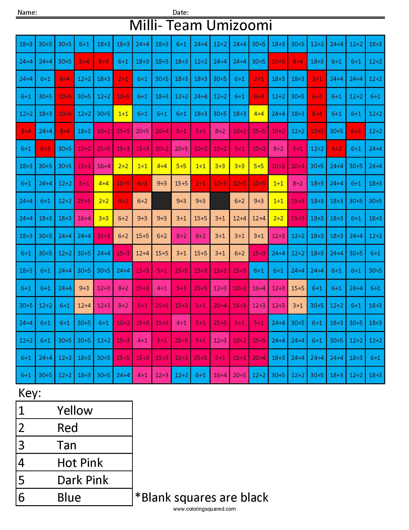 Milli from Team Umizoomi- Color by Number | Coloring Squared
