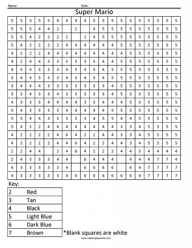 Workbooks super mario math worksheets : 2CN Super Mario Nintendo color by number coloring worksheet ...