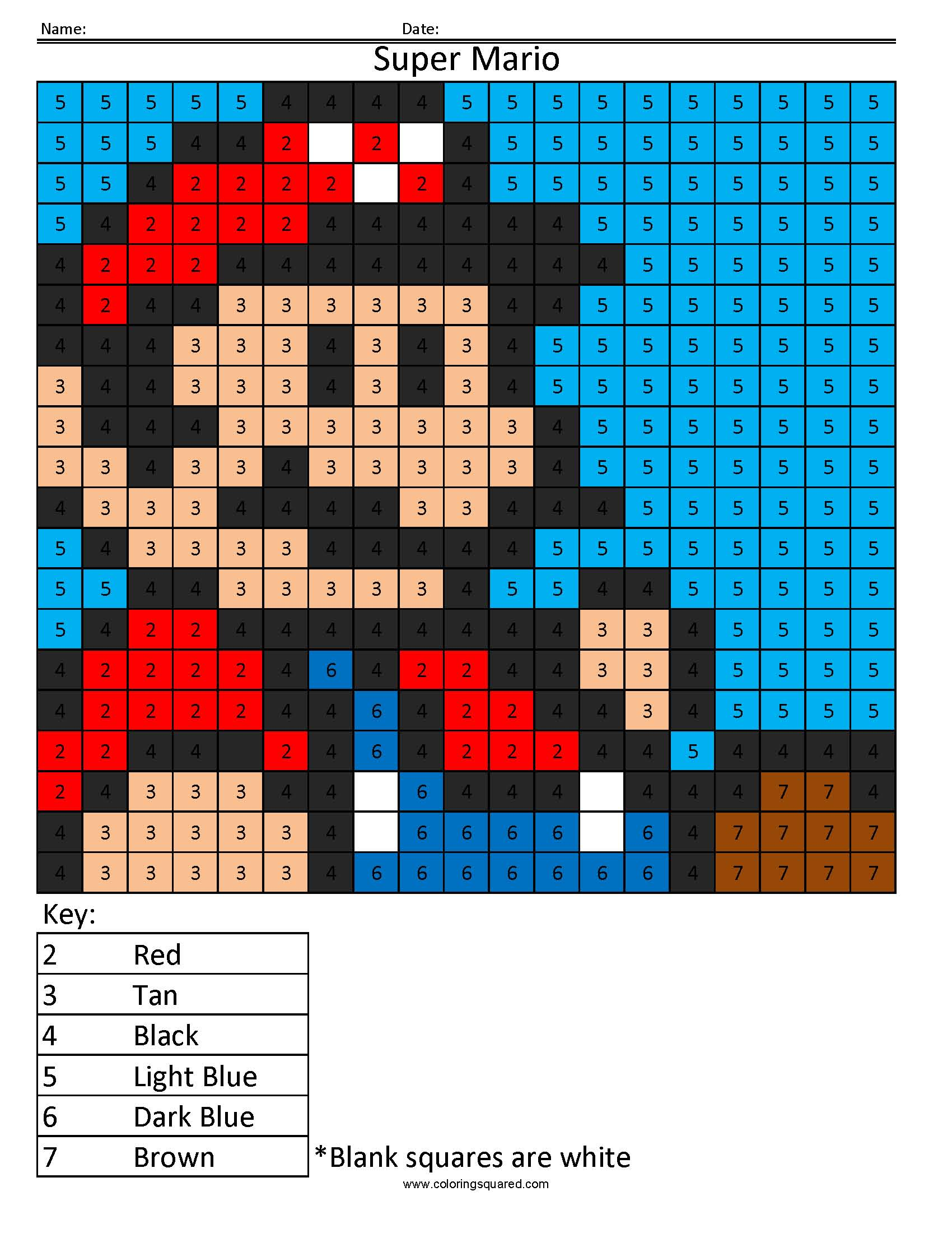 Super Mario- Color by Number math Nintendo coloring worksheet