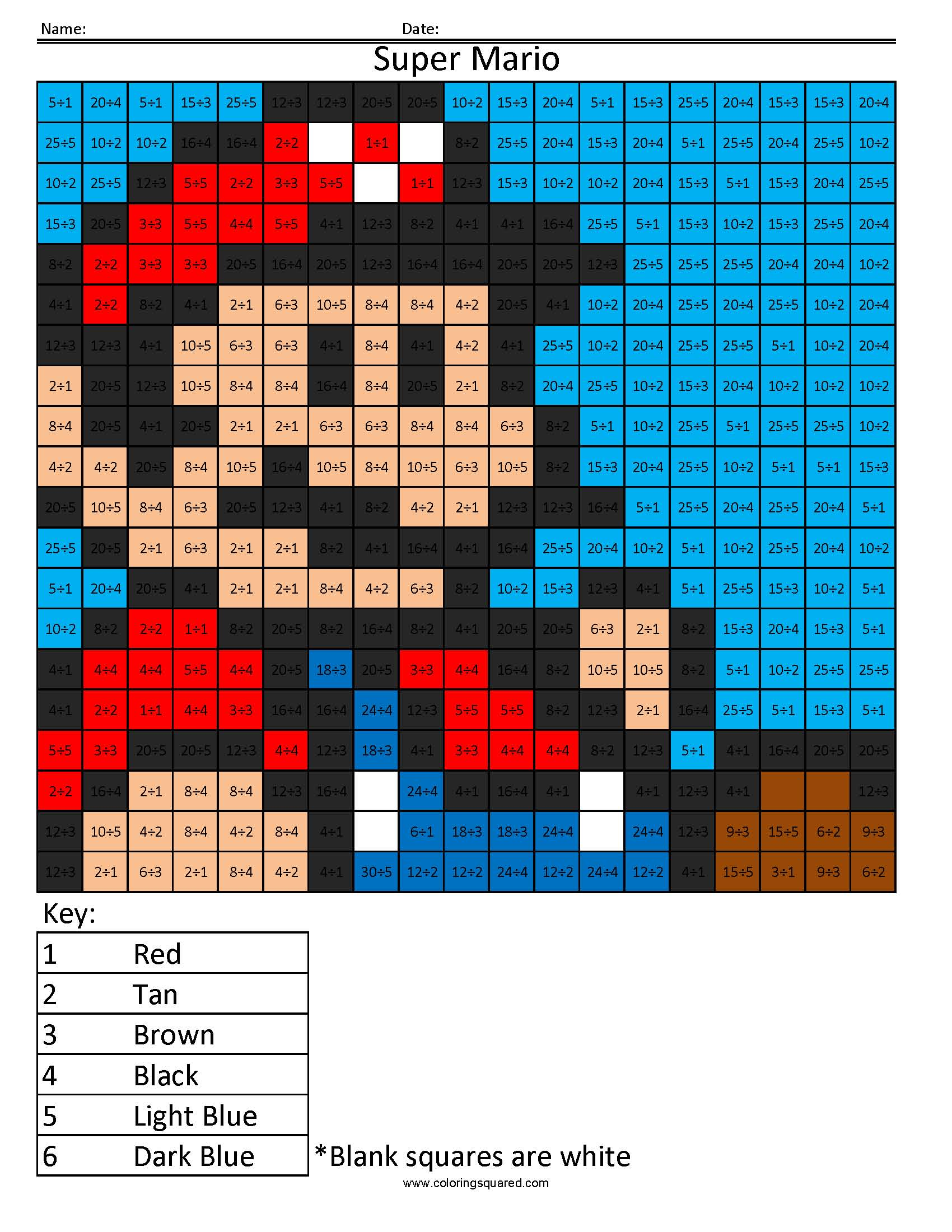 Super Mario Color By Number