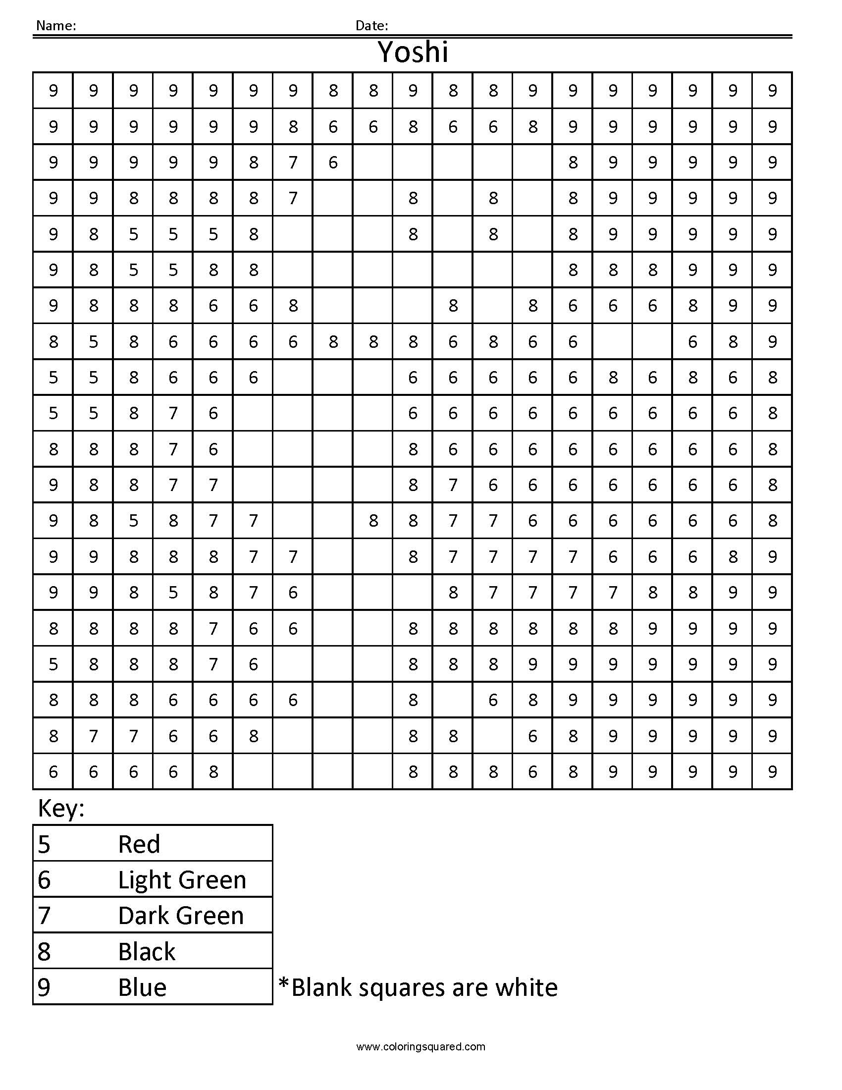 Yoshi Color by Number – Math Worksheets Color by Number