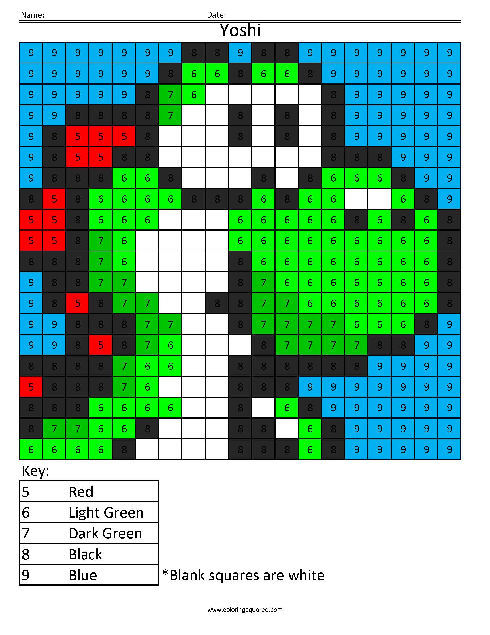 Yoshi Color By Number Coloring Squared