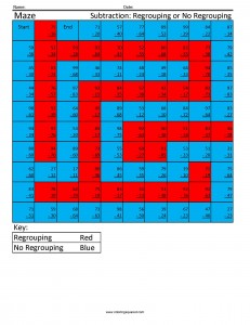 Maze- Subtraction Regrouping cool math worksheets