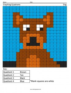 Dog- Graphing Quadrants math worksheets geometry and measurement ...
