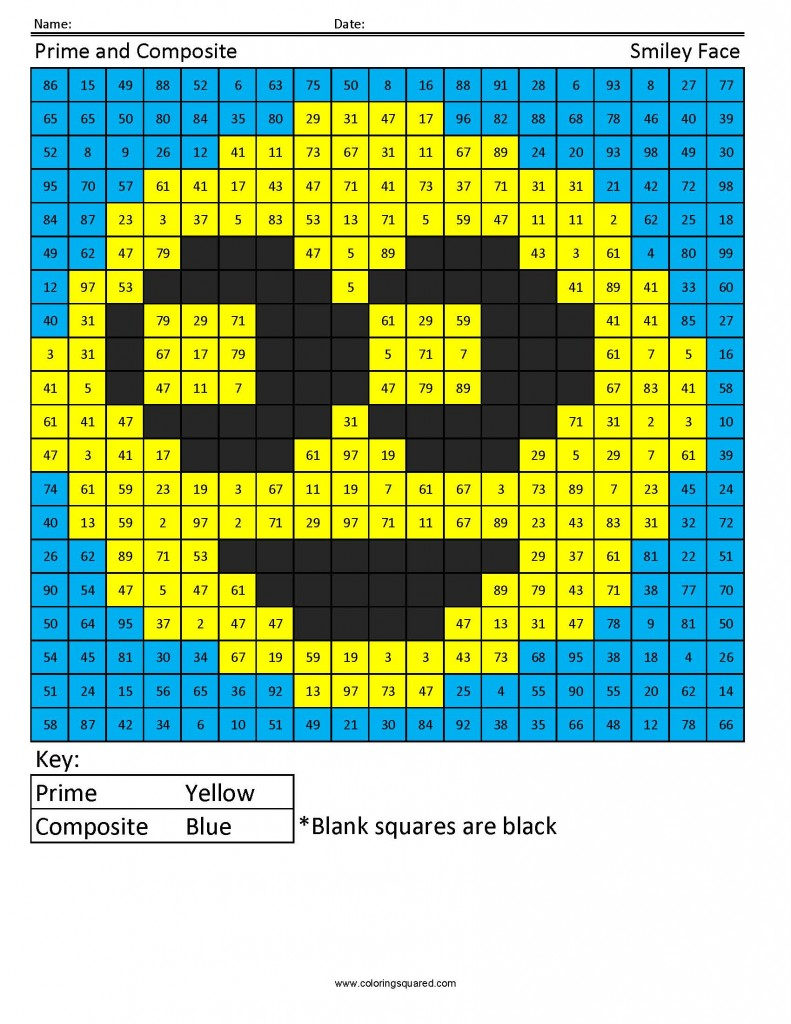 Smiley Face Factoring Coloring Squared
