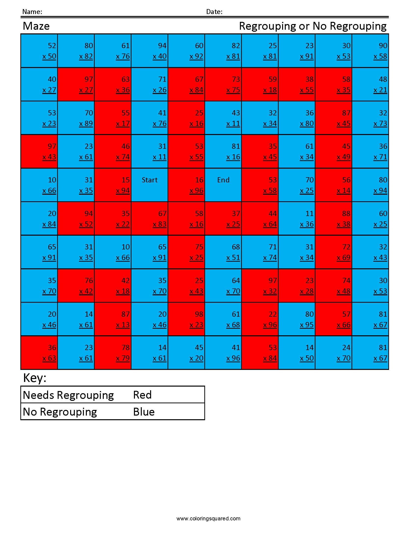 MA5 Maze regrouping multiplication worksheet - Coloring Squared