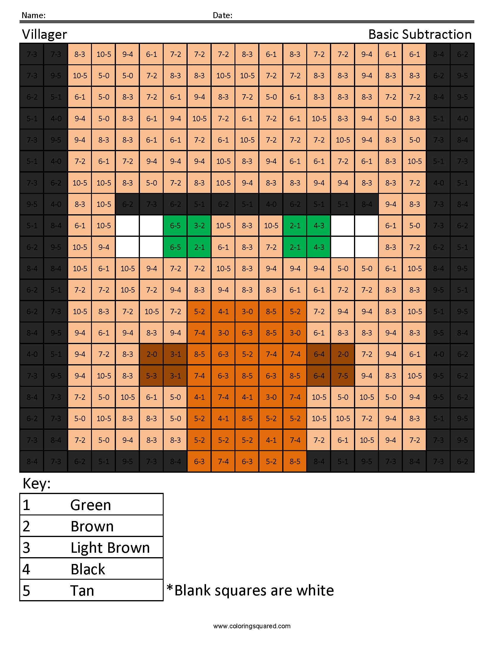Villager- Basic Subtraction : Coloring Squared